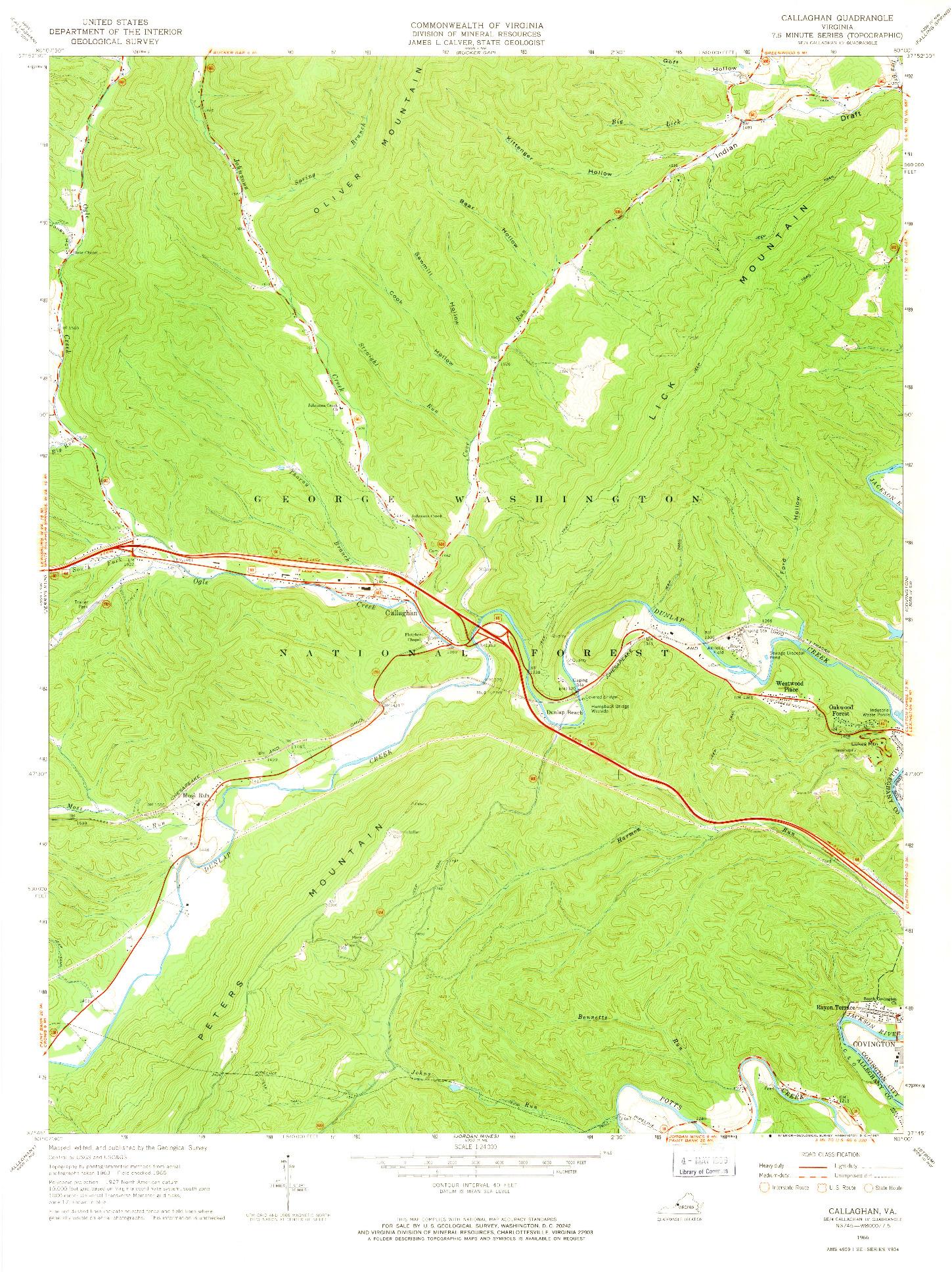 USGS 1:24000-SCALE QUADRANGLE FOR CALLAGHAN, VA 1966