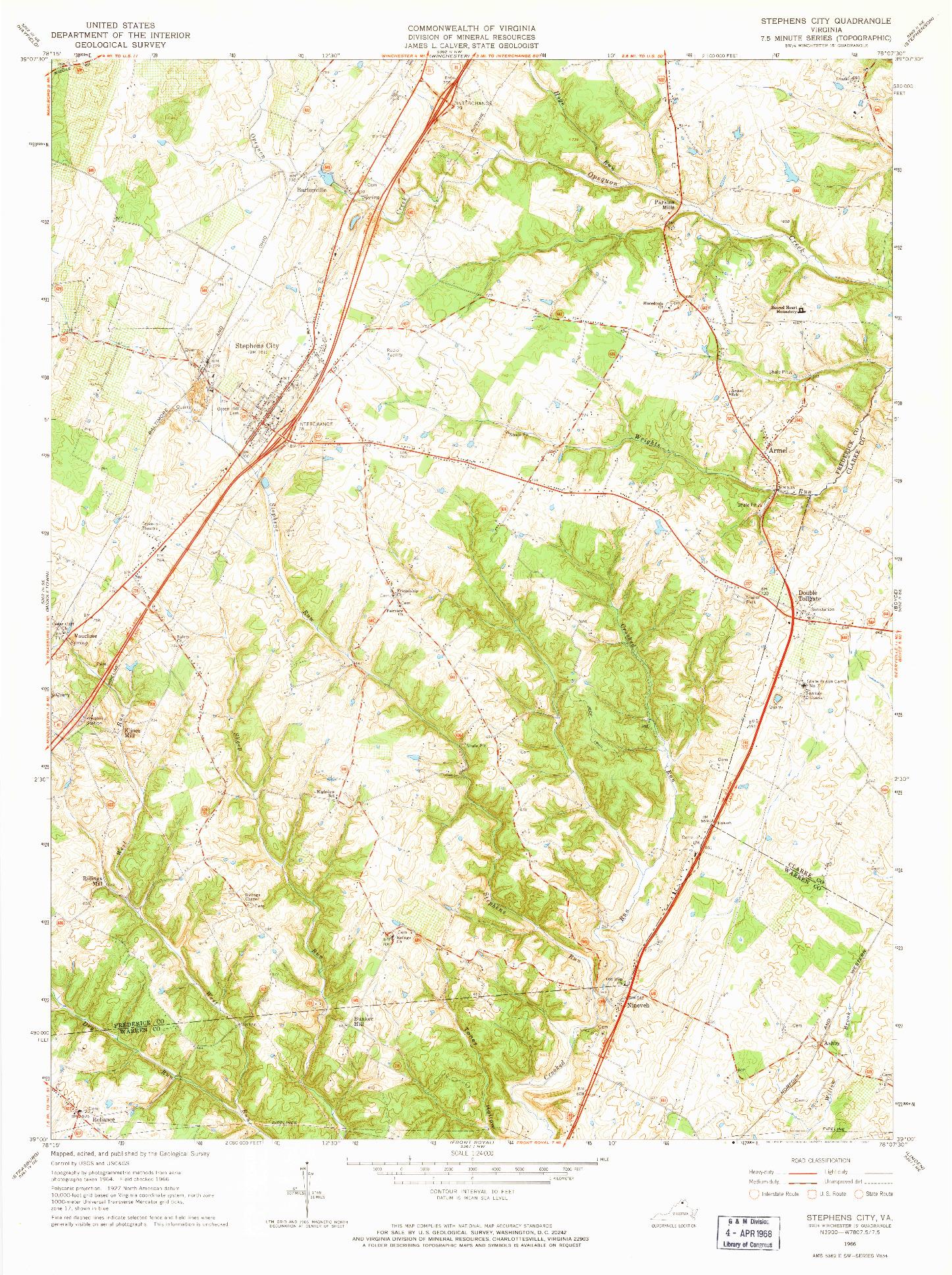 USGS 1:24000-SCALE QUADRANGLE FOR STEPHENS CITY, VA 1966