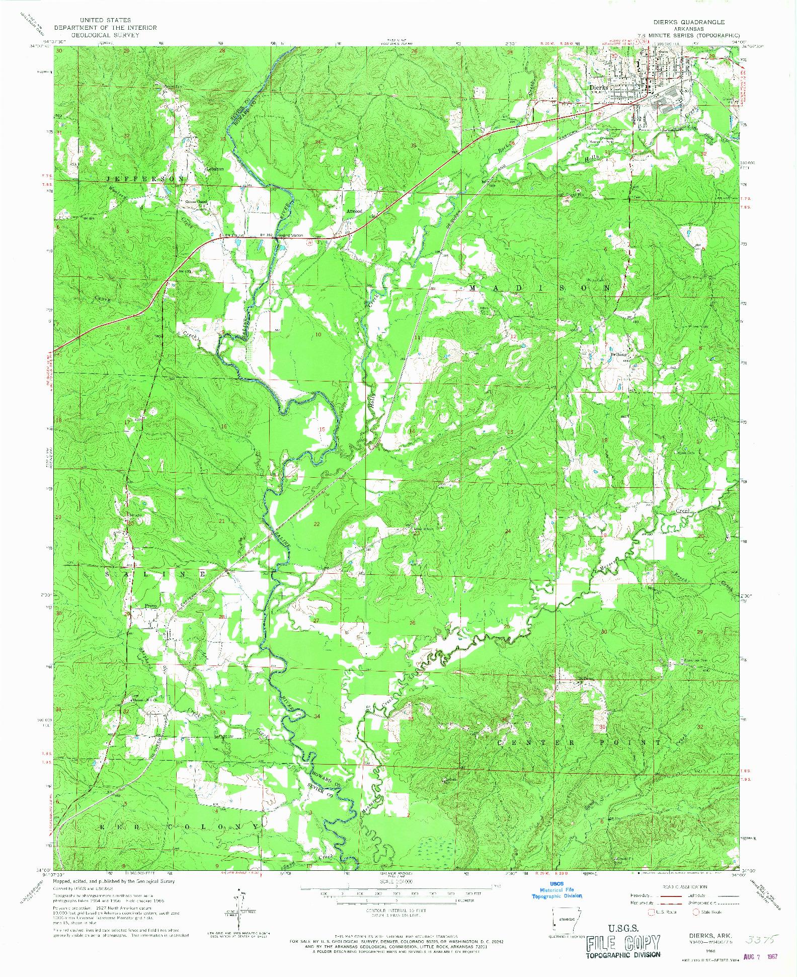 USGS 1:24000-SCALE QUADRANGLE FOR DIERKS, AR 1966