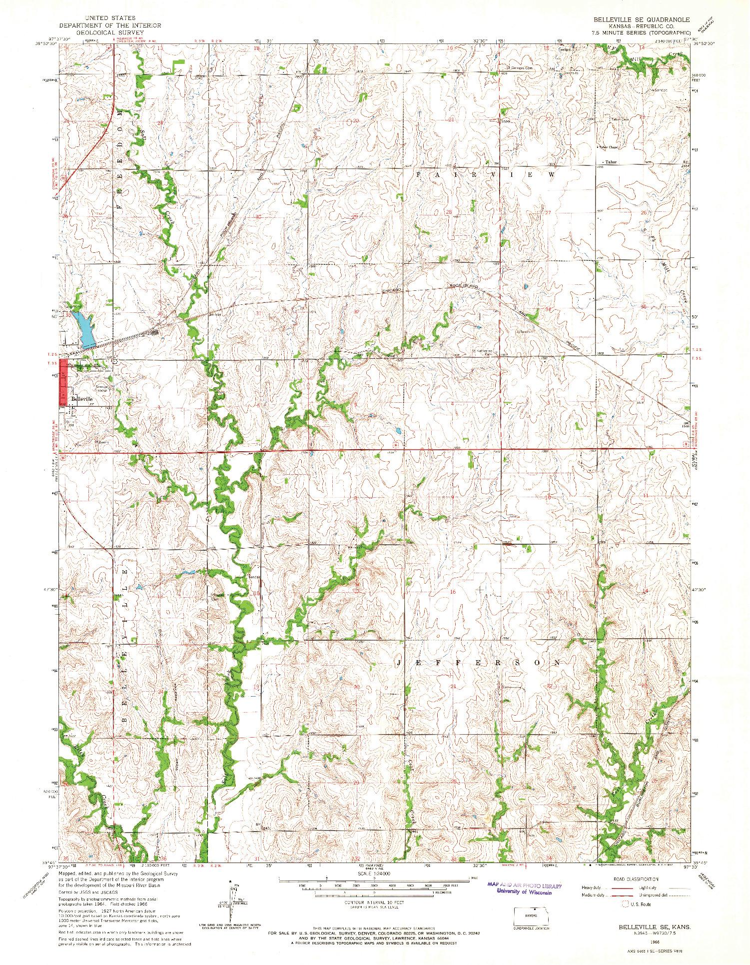USGS 1:24000-SCALE QUADRANGLE FOR BELLEVILLE SE, KS 1966