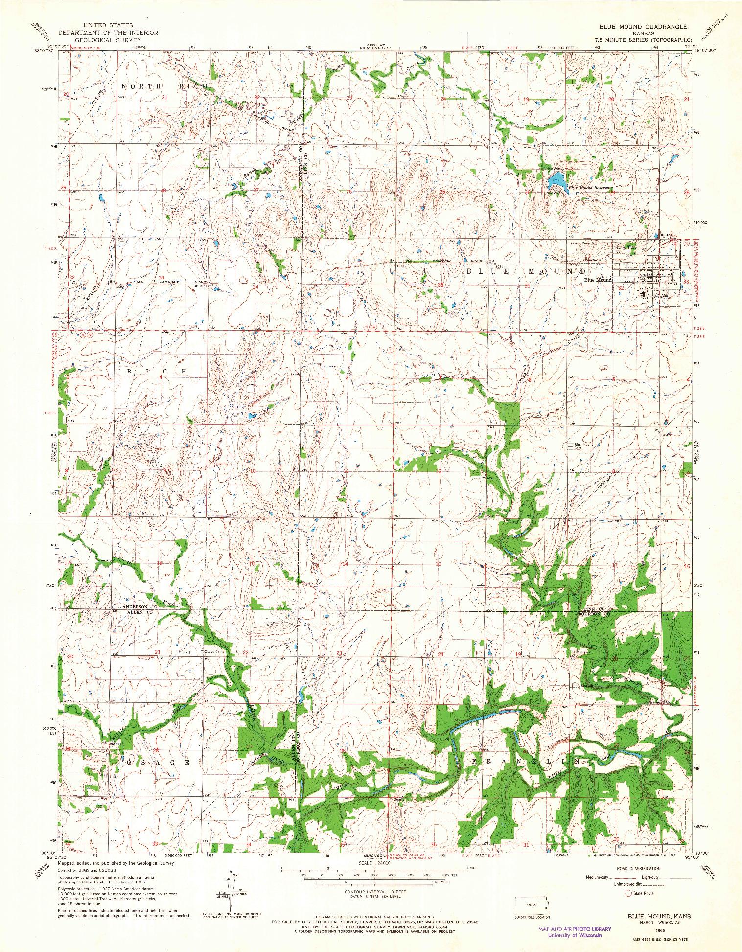 USGS 1:24000-SCALE QUADRANGLE FOR BLUE MOUND, KS 1966