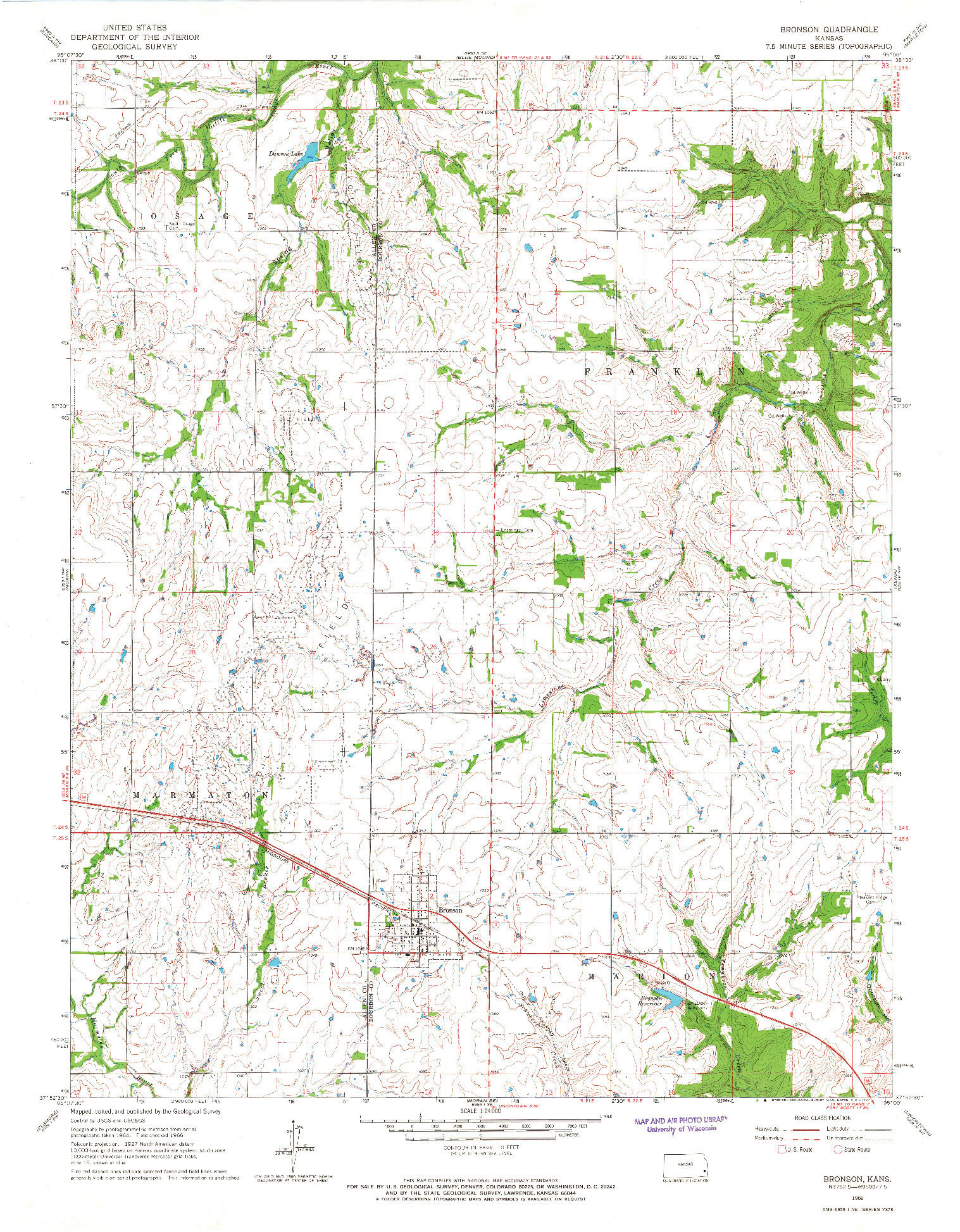 USGS 1:24000-SCALE QUADRANGLE FOR BRONSON, KS 1966
