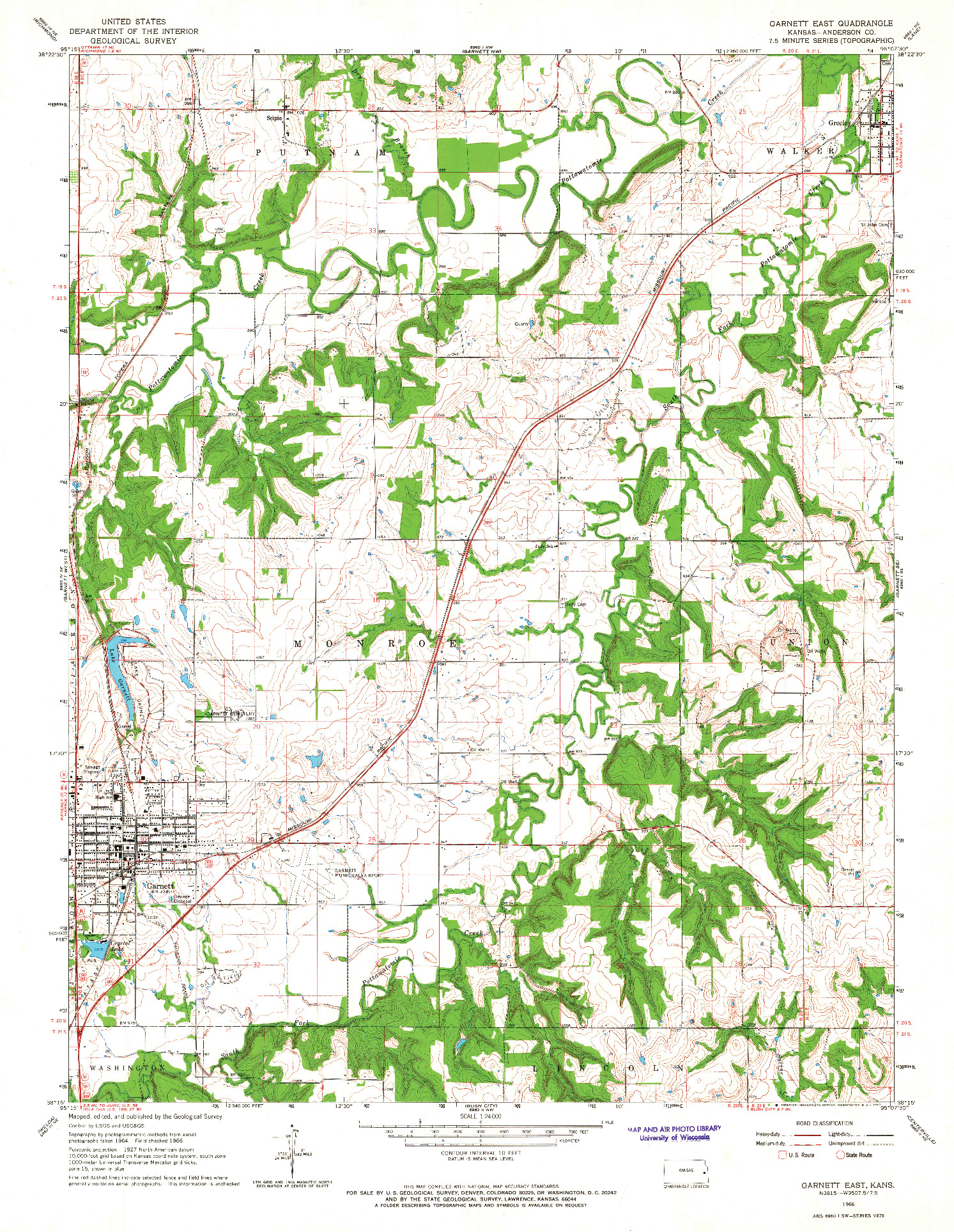 USGS 1:24000-SCALE QUADRANGLE FOR GARNETT EAST, KS 1966