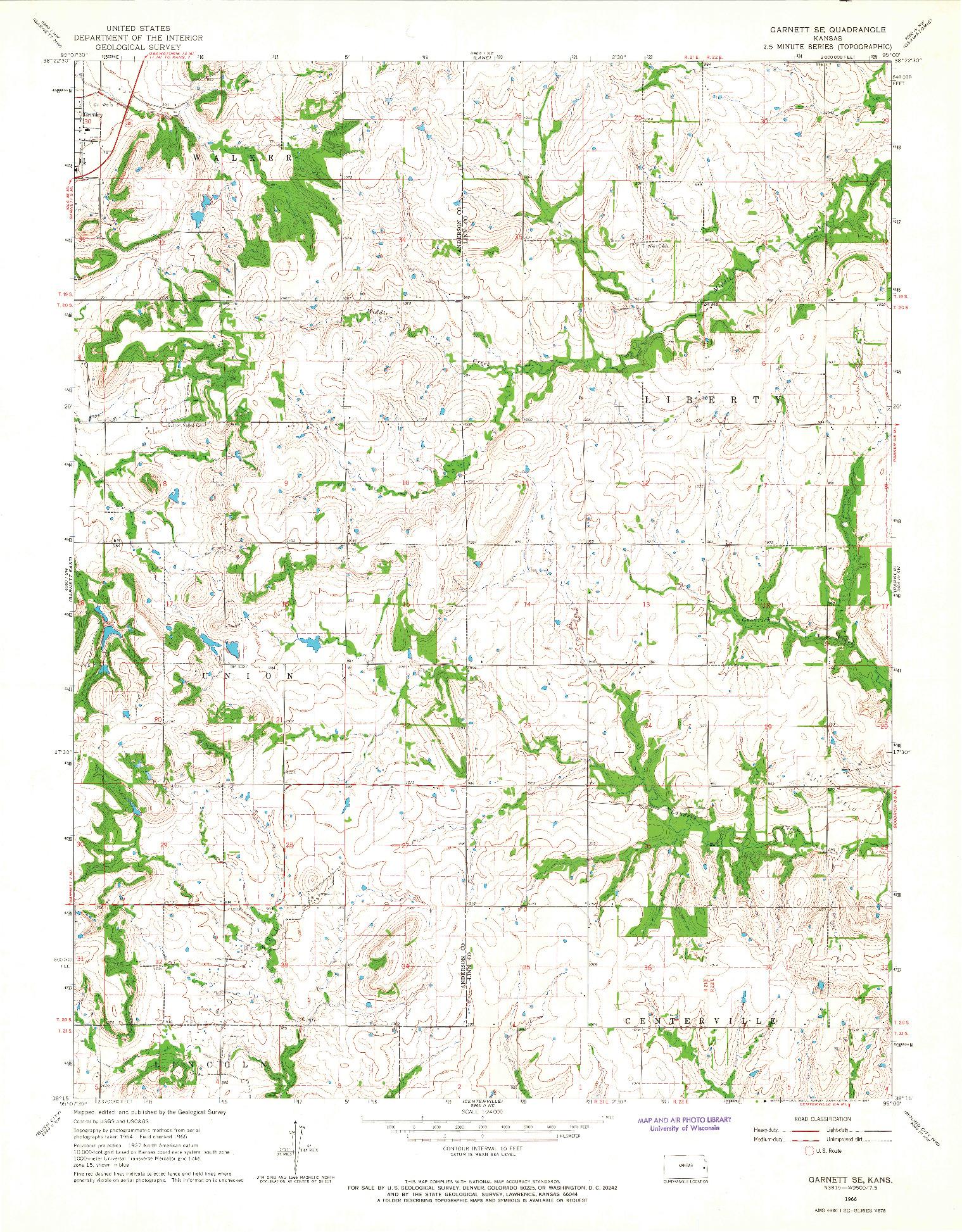 USGS 1:24000-SCALE QUADRANGLE FOR GARNETT SE, KS 1966