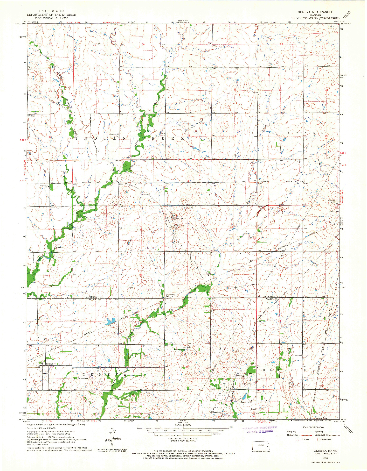 USGS 1:24000-SCALE QUADRANGLE FOR GENEVA, KS 1966