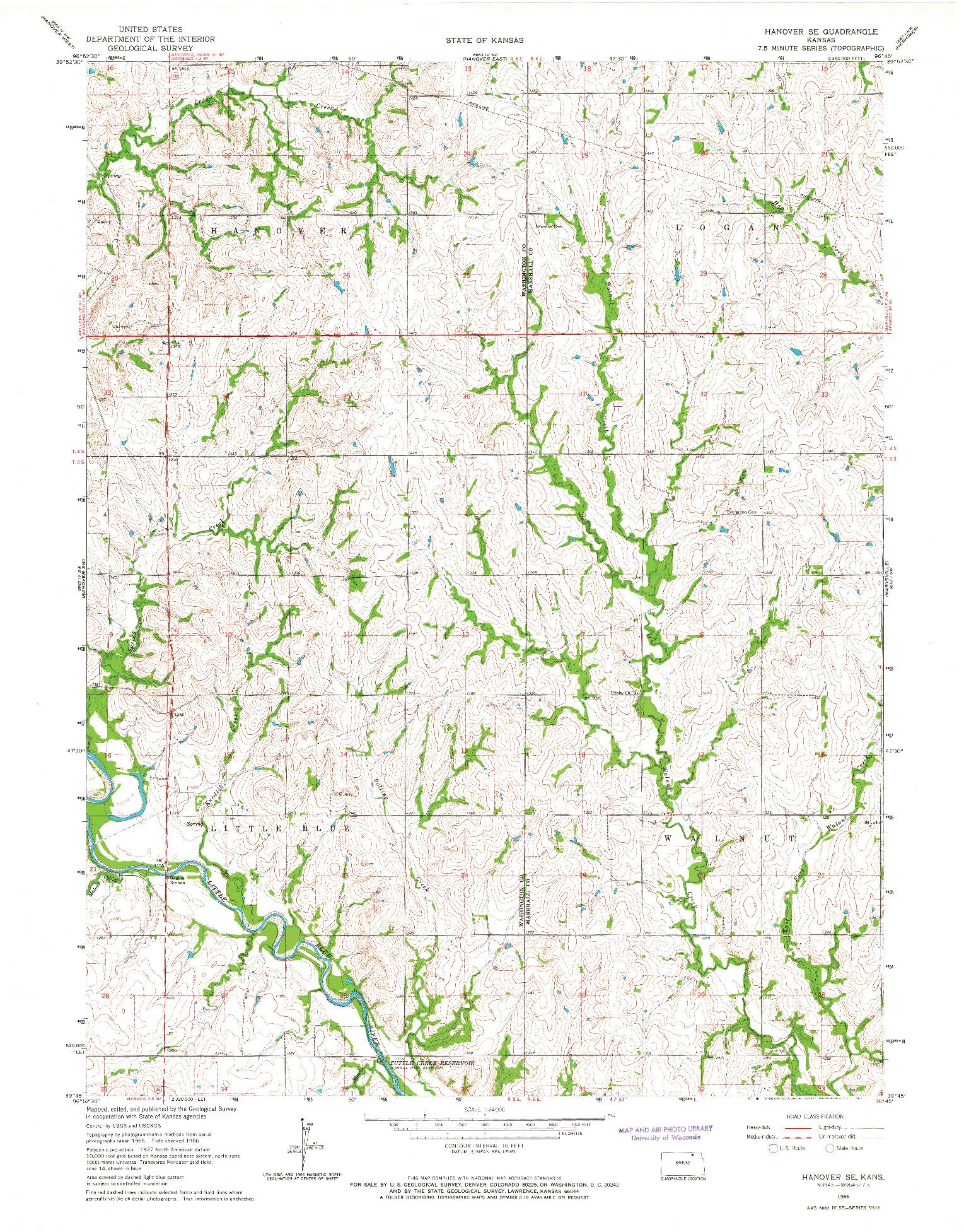 USGS 1:24000-SCALE QUADRANGLE FOR HANOVER SE, KS 1966
