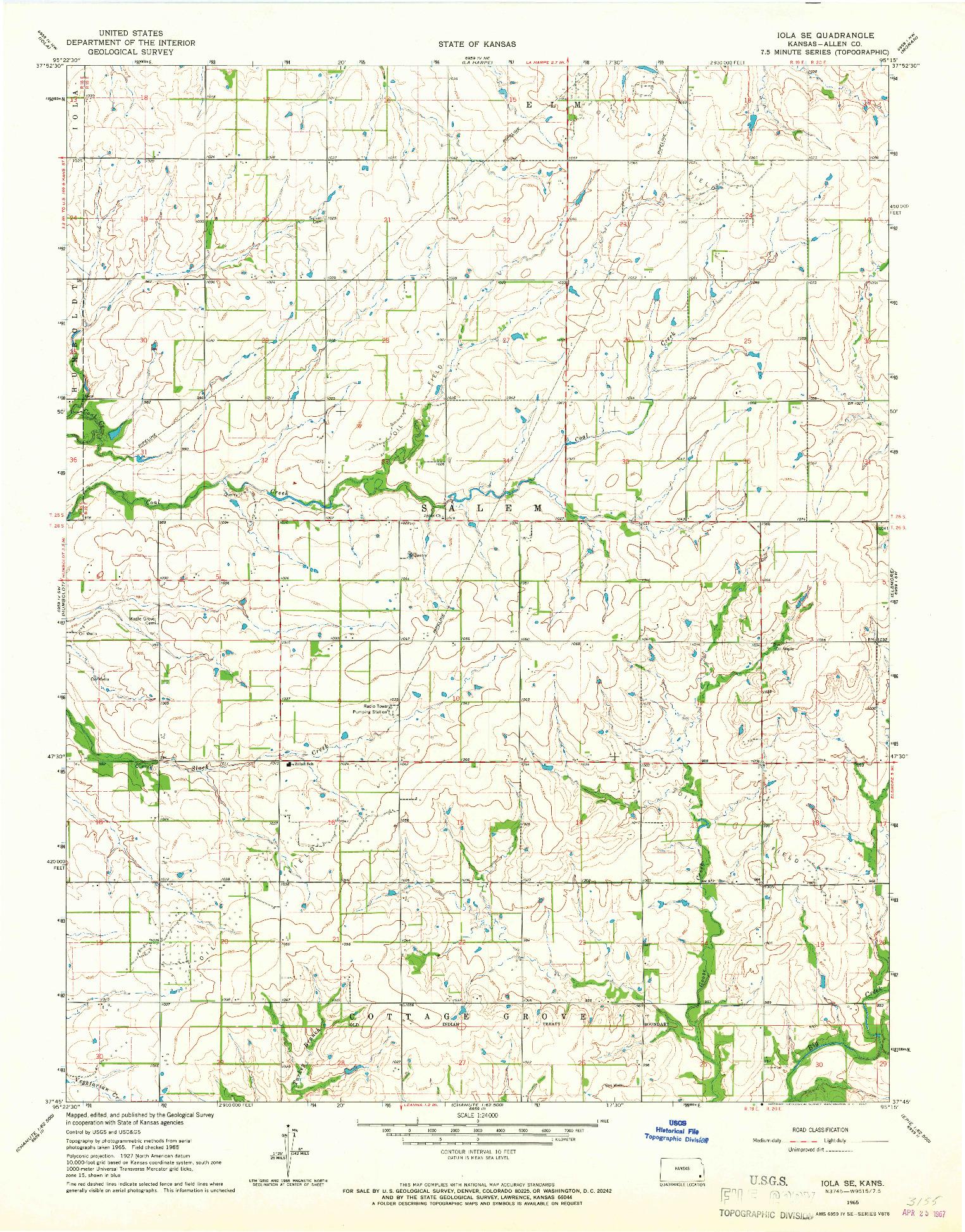 USGS 1:24000-SCALE QUADRANGLE FOR IOLA SE, KS 1965
