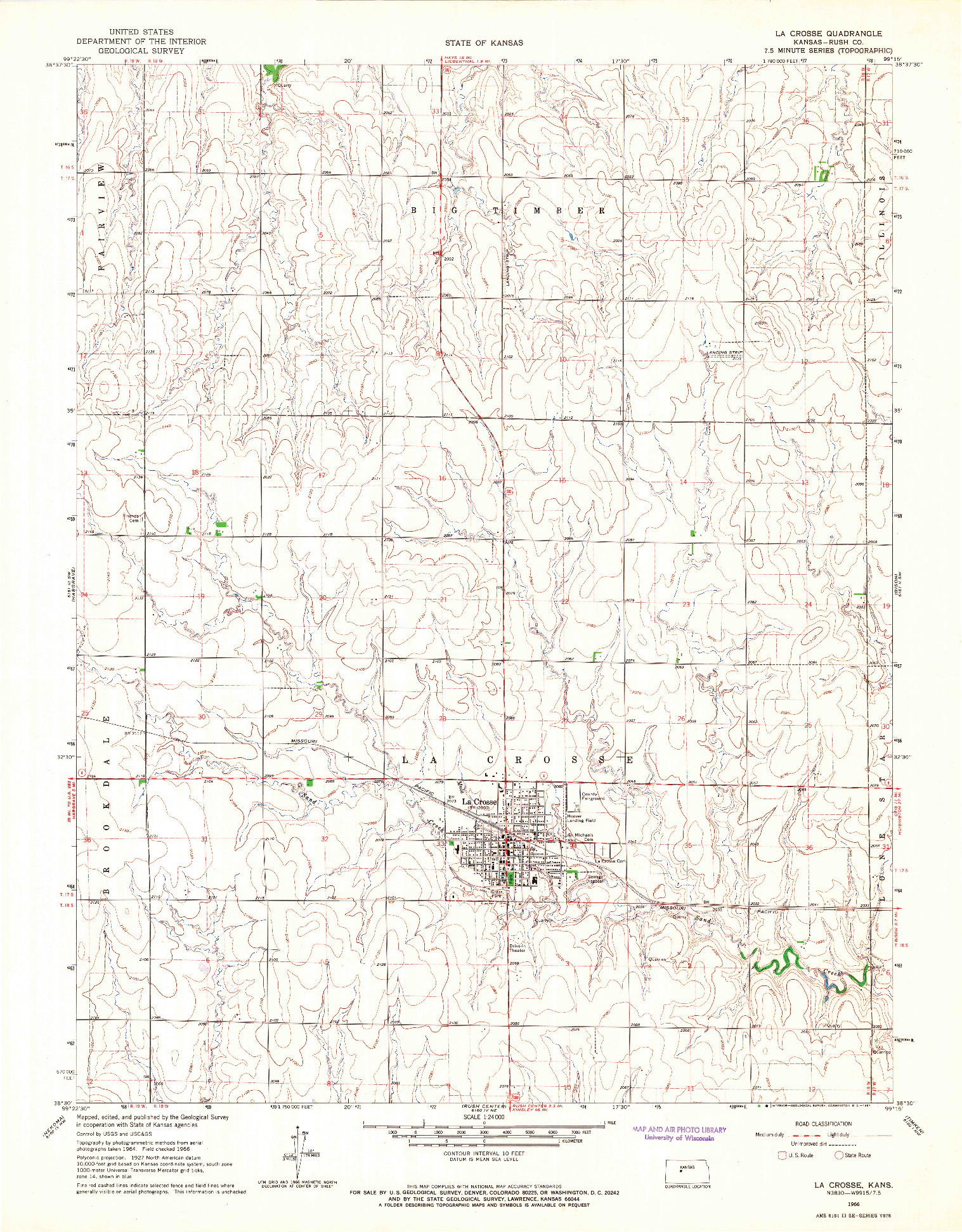 USGS 1:24000-SCALE QUADRANGLE FOR LA CROSSE, KS 1966
