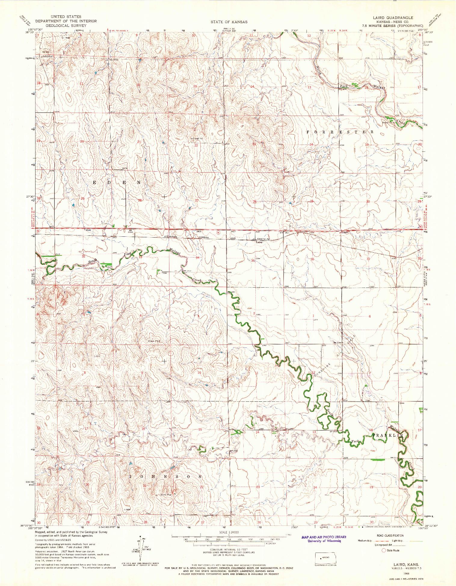 USGS 1:24000-SCALE QUADRANGLE FOR LAIRD, KS 1966