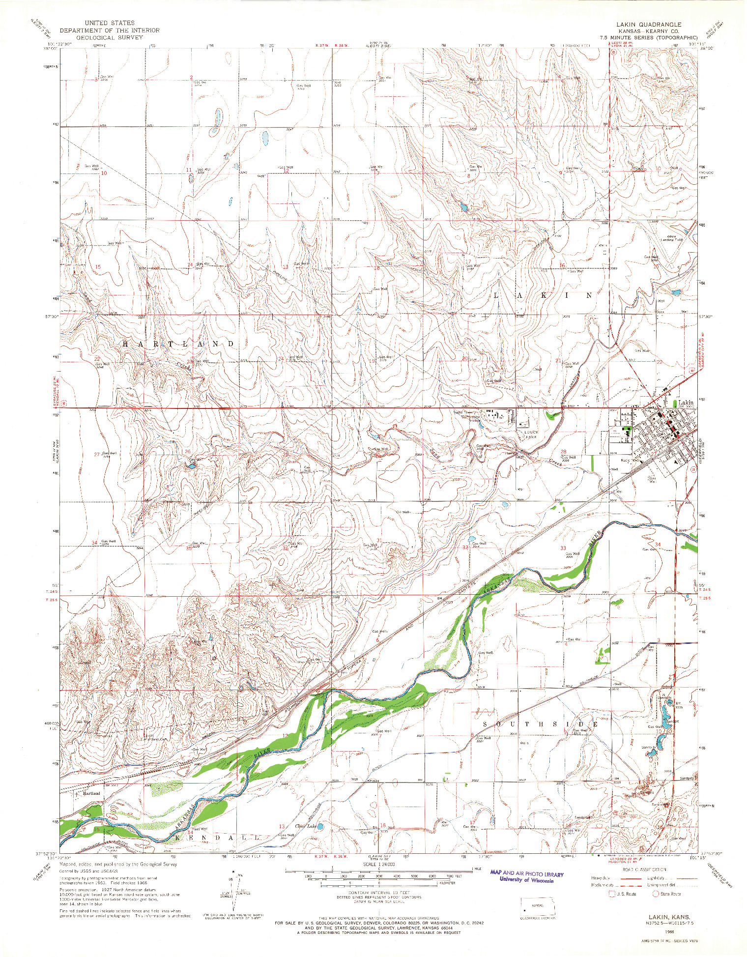 USGS 1:24000-SCALE QUADRANGLE FOR LAKIN, KS 1966