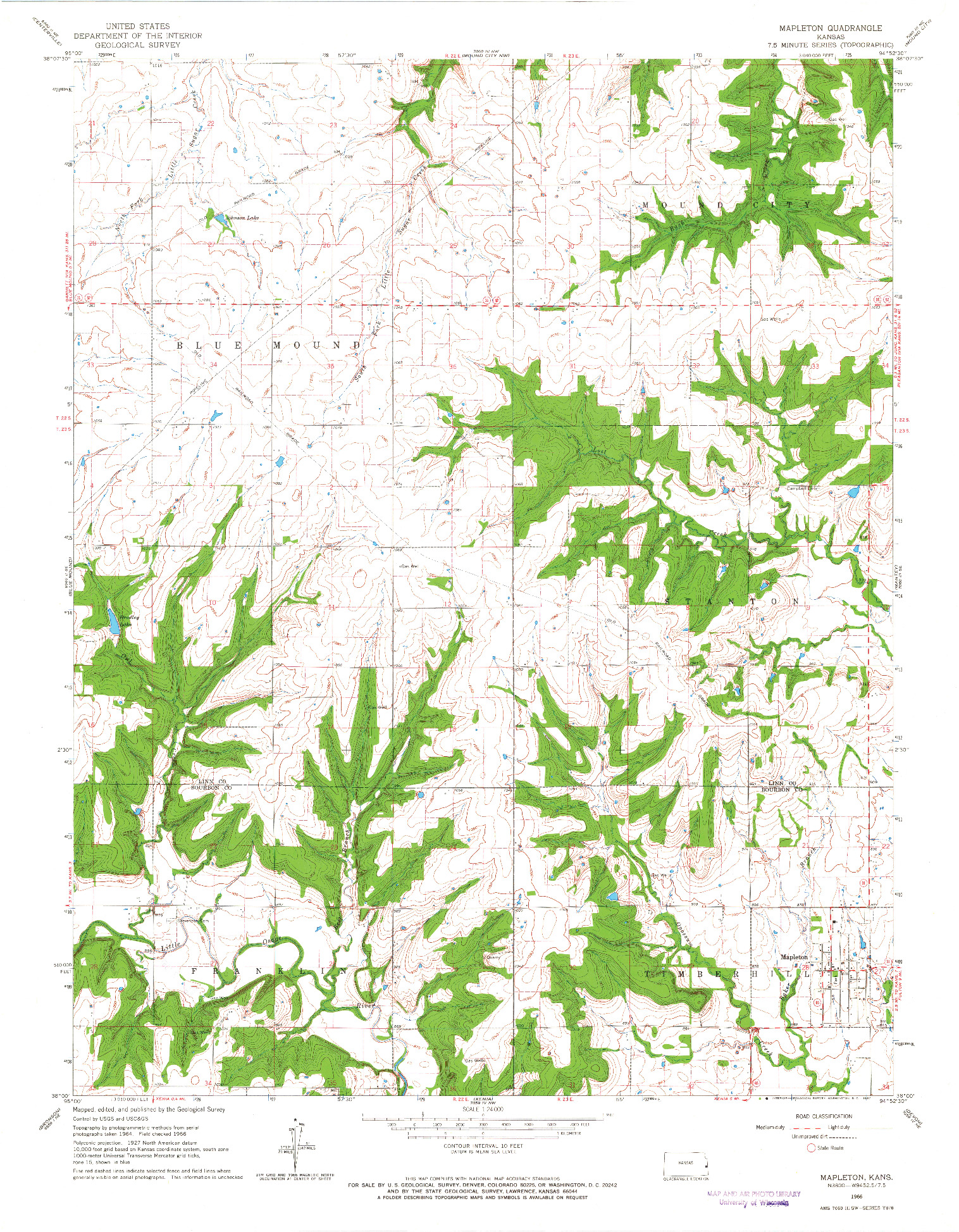 USGS 1:24000-SCALE QUADRANGLE FOR MAPLETON, KS 1966