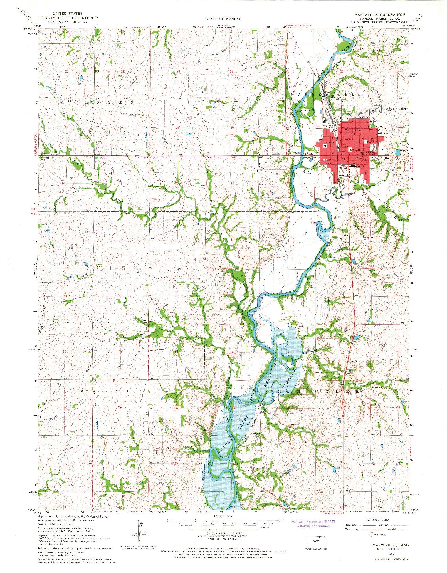 USGS 1:24000-SCALE QUADRANGLE FOR MARYSVILLE, KS 1966