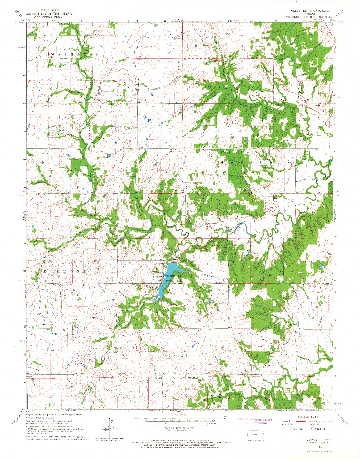 USGS 1:24000-SCALE QUADRANGLE FOR MORAN SE, KS 1966