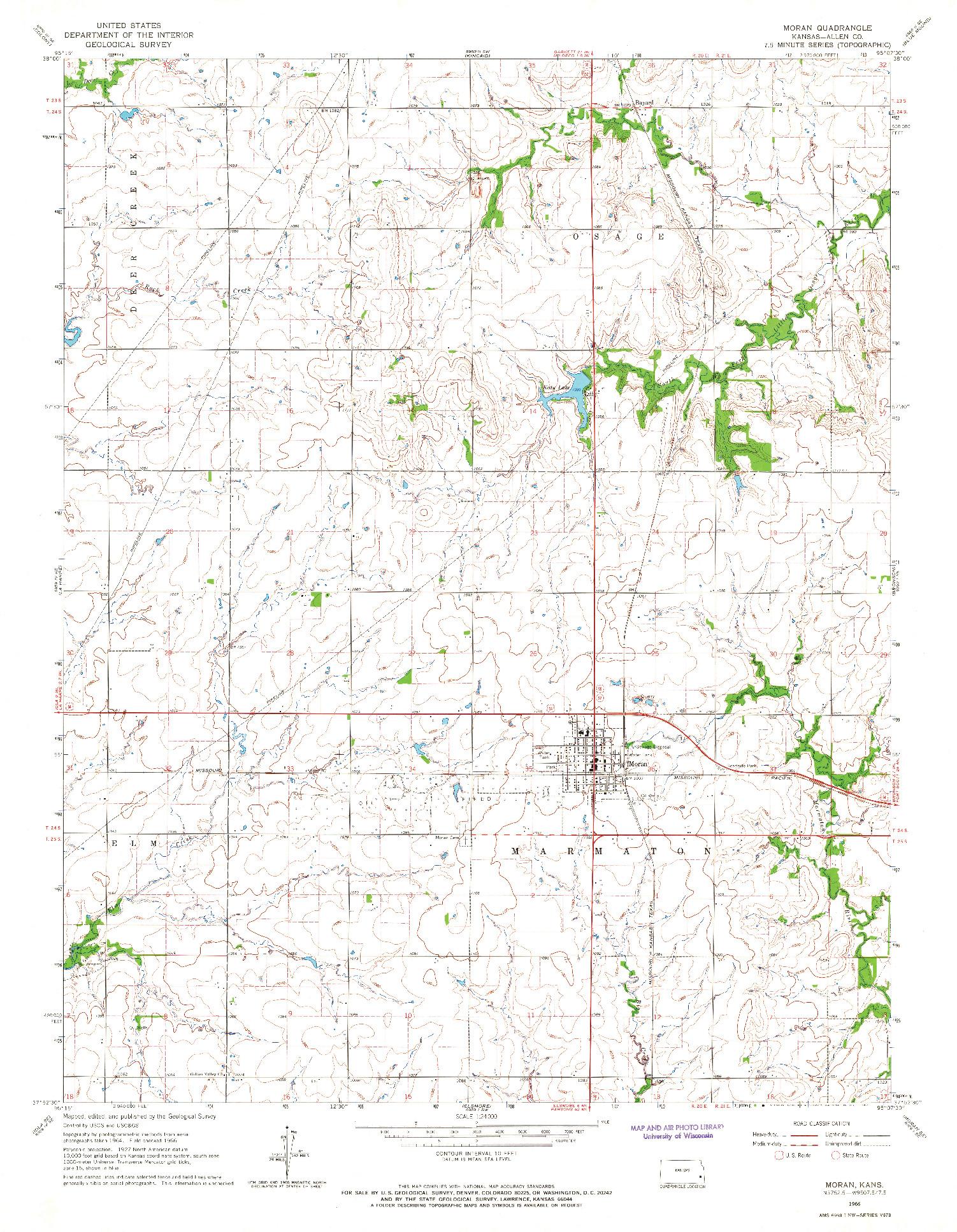 USGS 1:24000-SCALE QUADRANGLE FOR MORAN, KS 1966