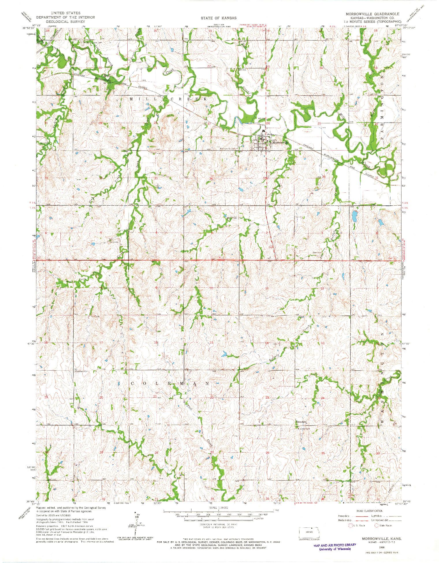 USGS 1:24000-SCALE QUADRANGLE FOR MORROWVILLE, KS 1966