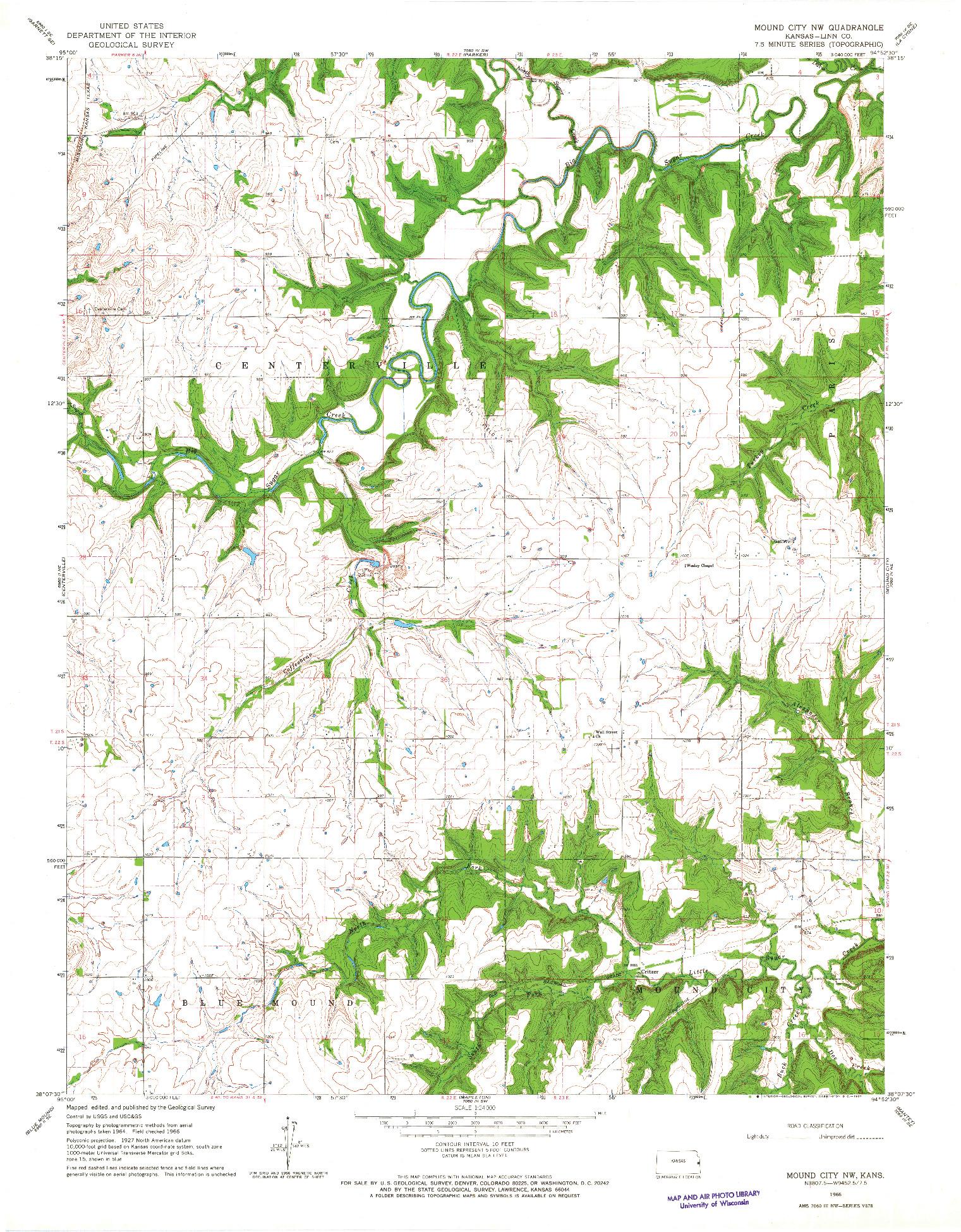 USGS 1:24000-SCALE QUADRANGLE FOR MOUND CITY NW, KS 1966