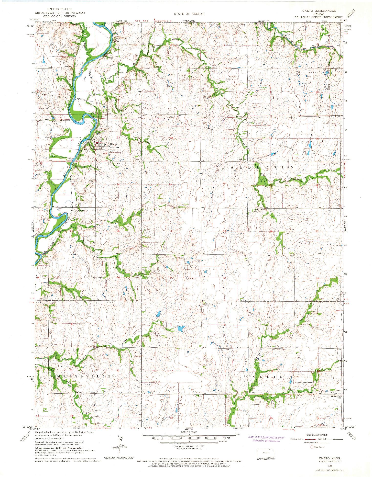 USGS 1:24000-SCALE QUADRANGLE FOR OKETO, KS 1966