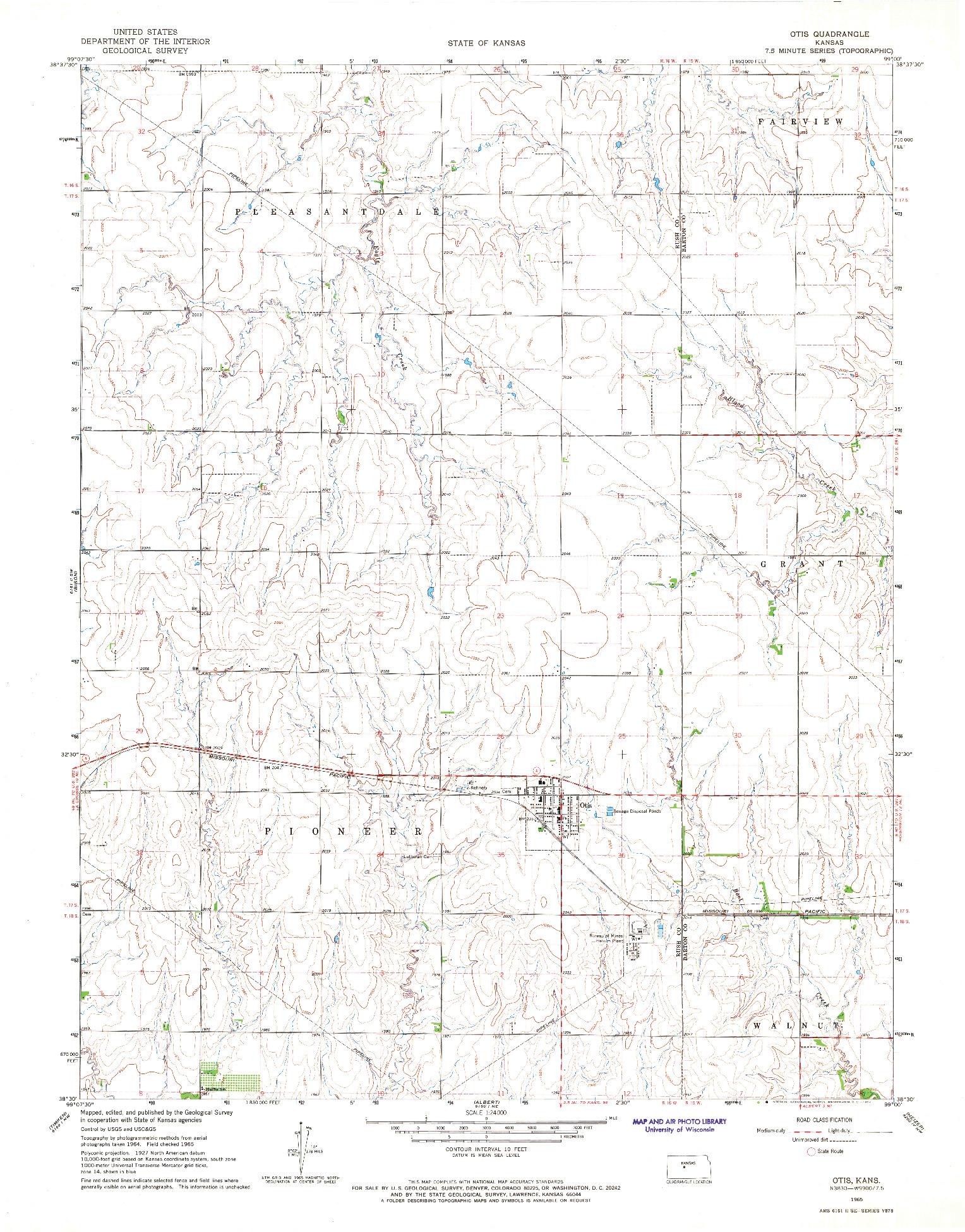 USGS 1:24000-SCALE QUADRANGLE FOR OTIS, KS 1965