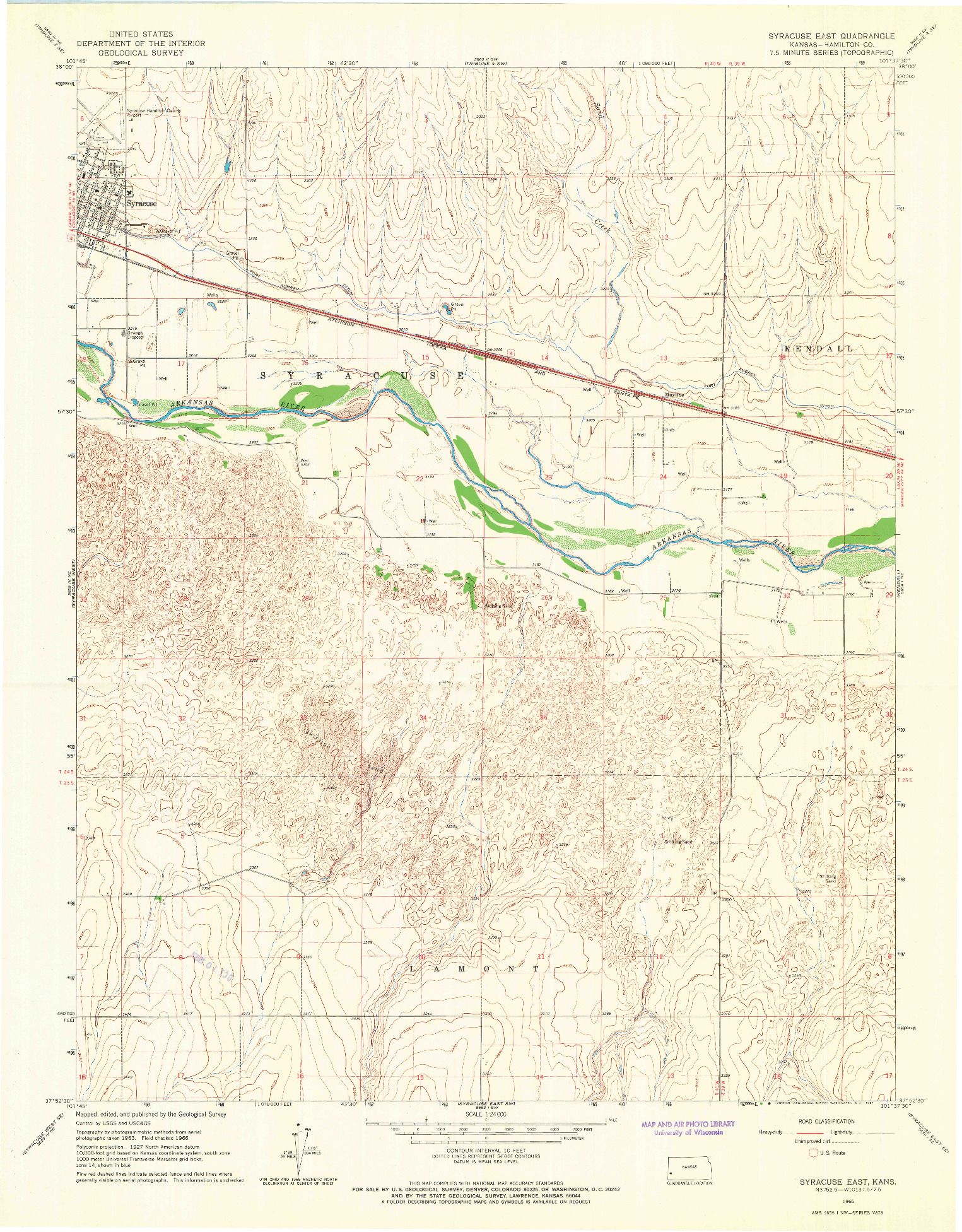 USGS 1:24000-SCALE QUADRANGLE FOR SYRACUSE EAST, KS 1966