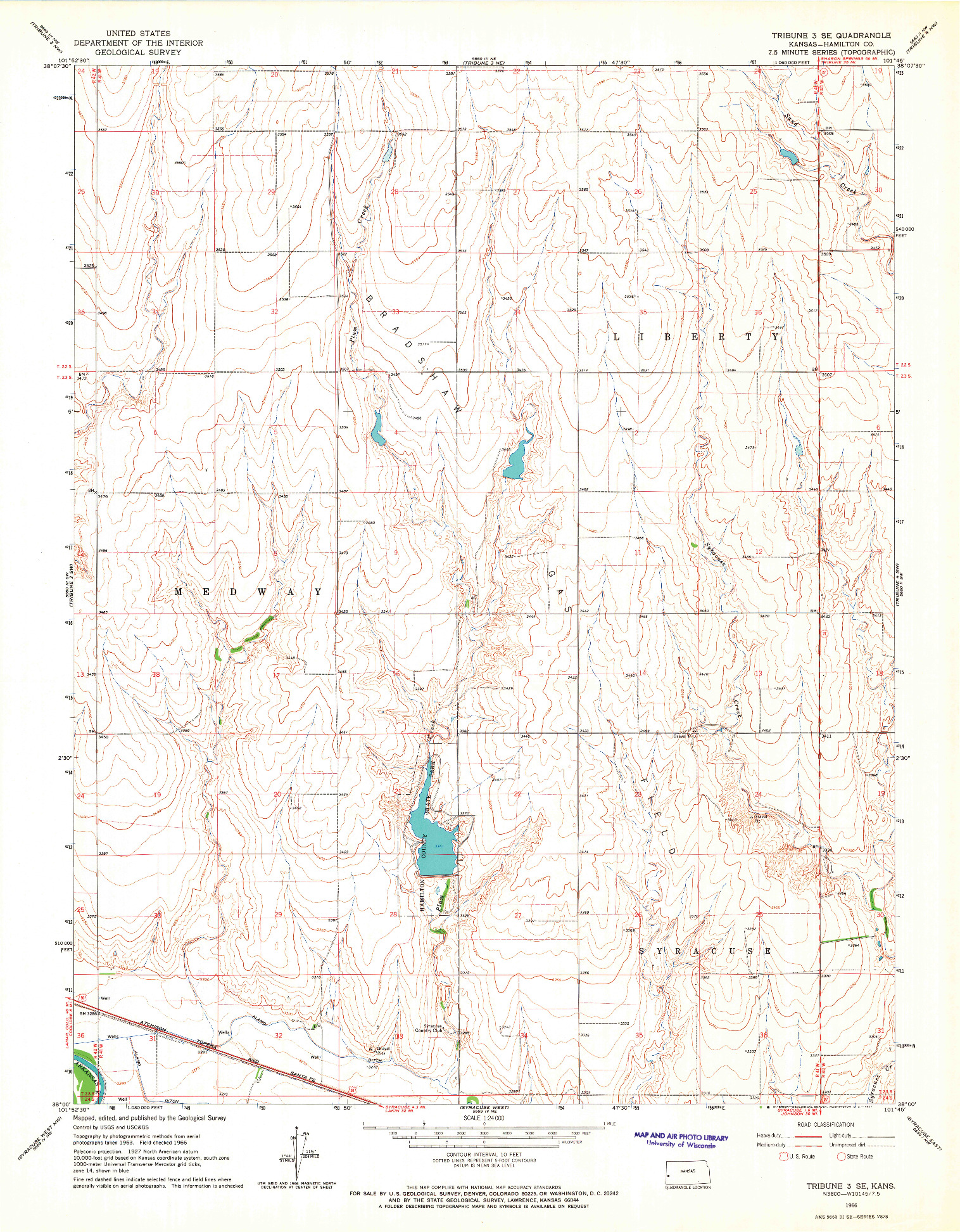 USGS 1:24000-SCALE QUADRANGLE FOR TRIBUNE 3 SE, KS 1966