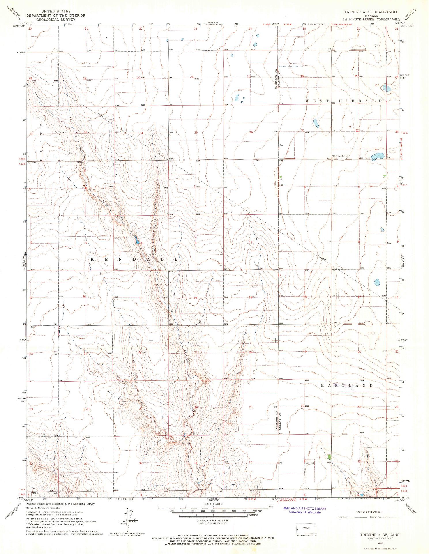 USGS 1:24000-SCALE QUADRANGLE FOR TRIBUNE 4 SE, KS 1966