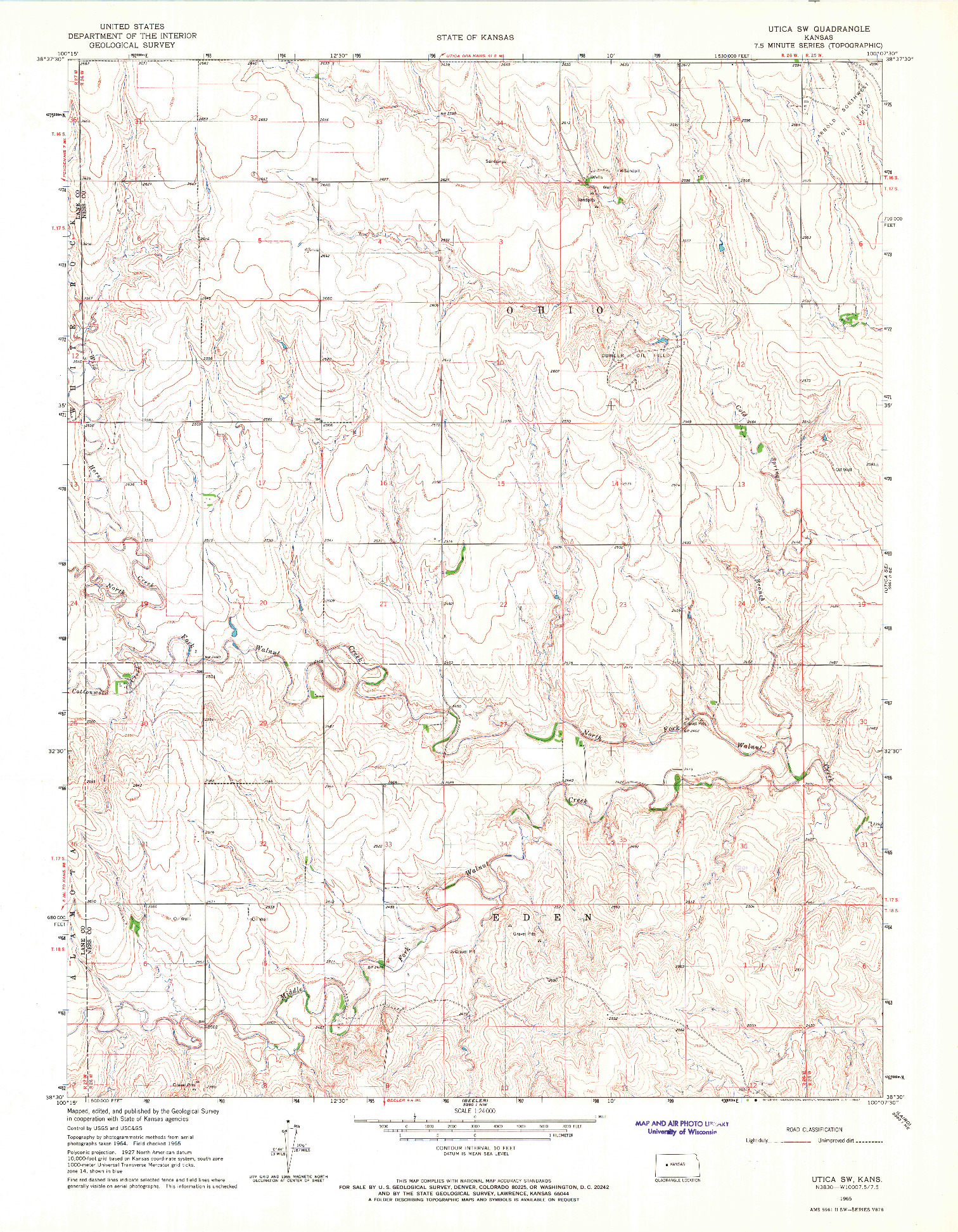 USGS 1:24000-SCALE QUADRANGLE FOR UTICA SW, KS 1965