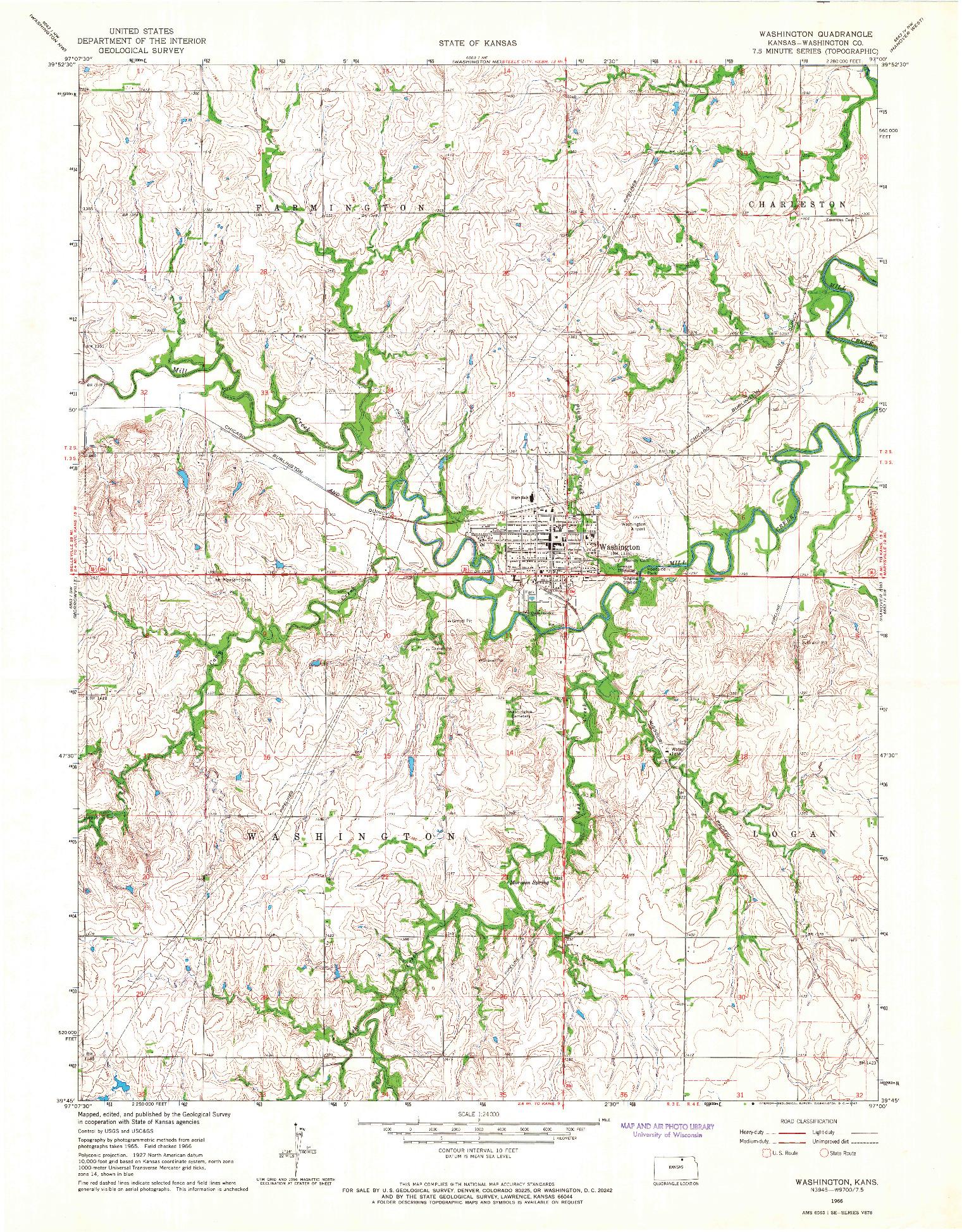 USGS 1:24000-SCALE QUADRANGLE FOR WASHINGTON, KS 1966
