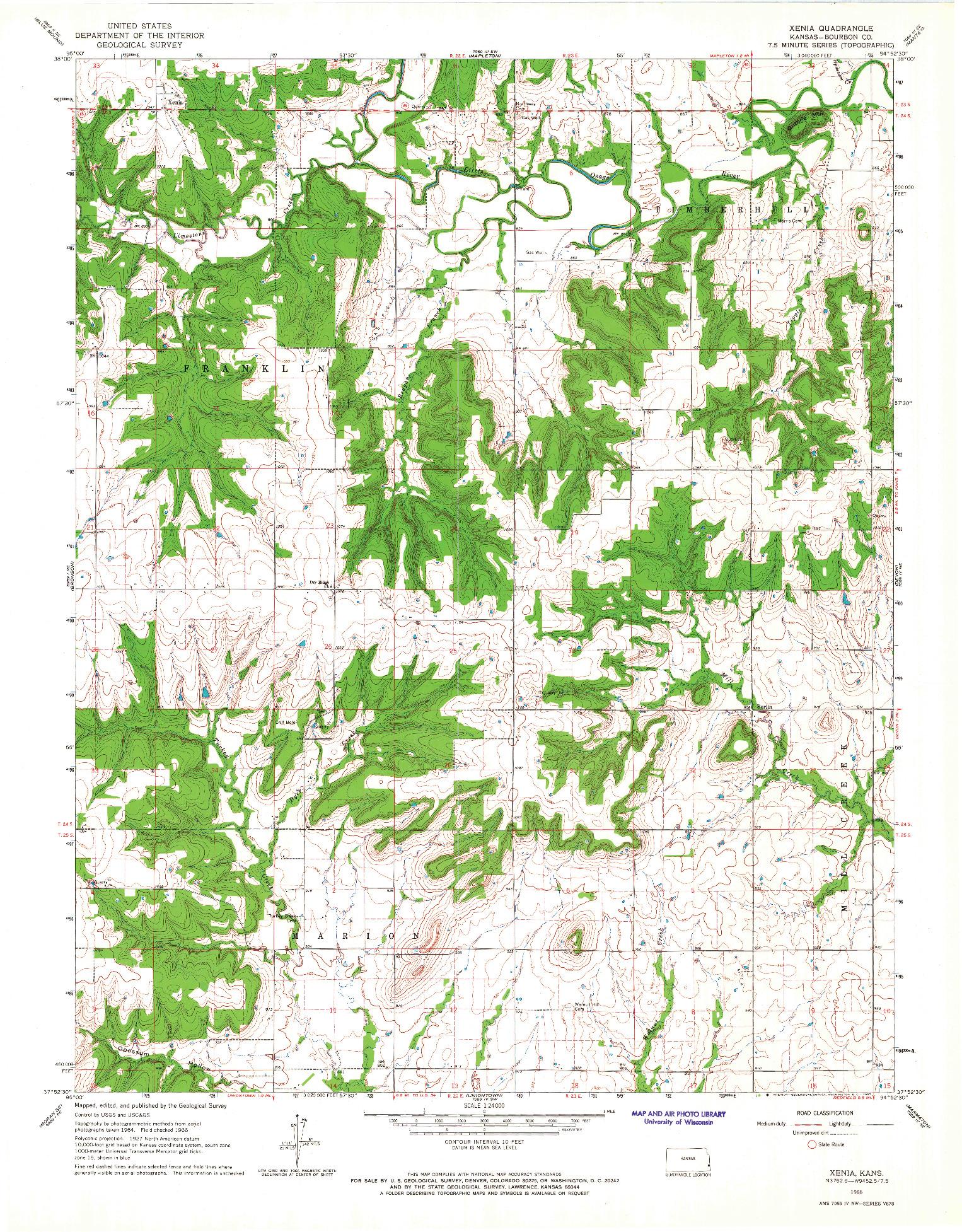 USGS 1:24000-SCALE QUADRANGLE FOR XENIA, KS 1966