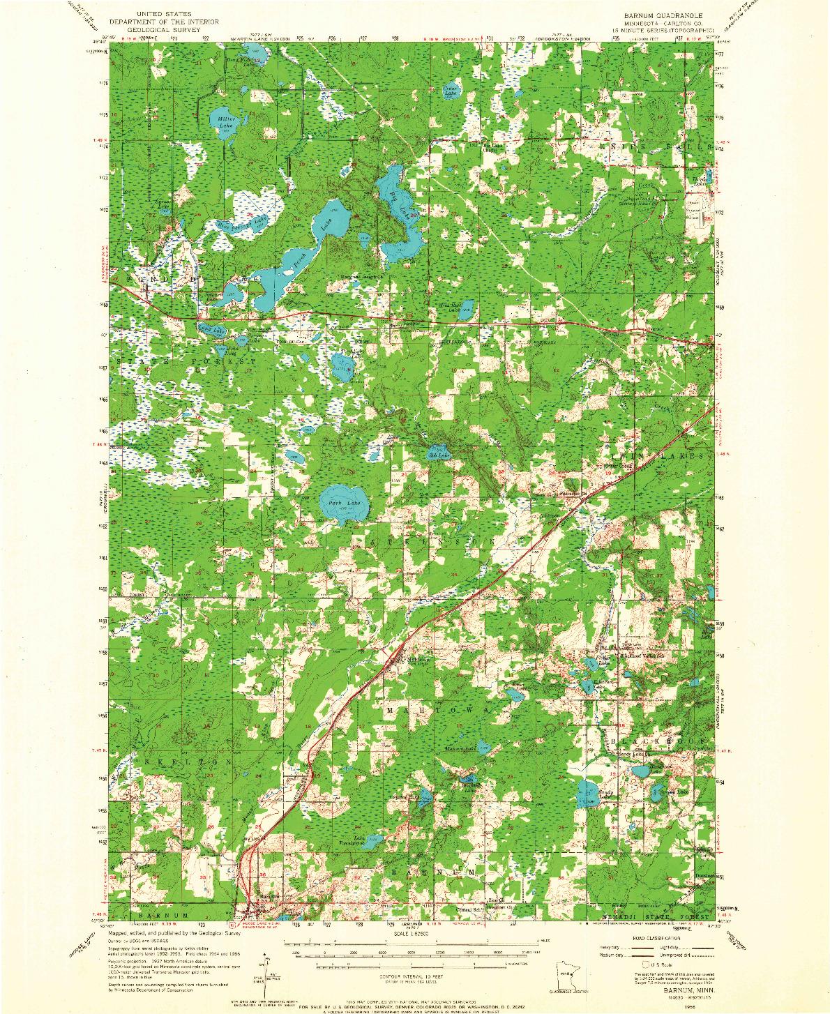USGS 1:62500-SCALE QUADRANGLE FOR BARNUM, MN 1956