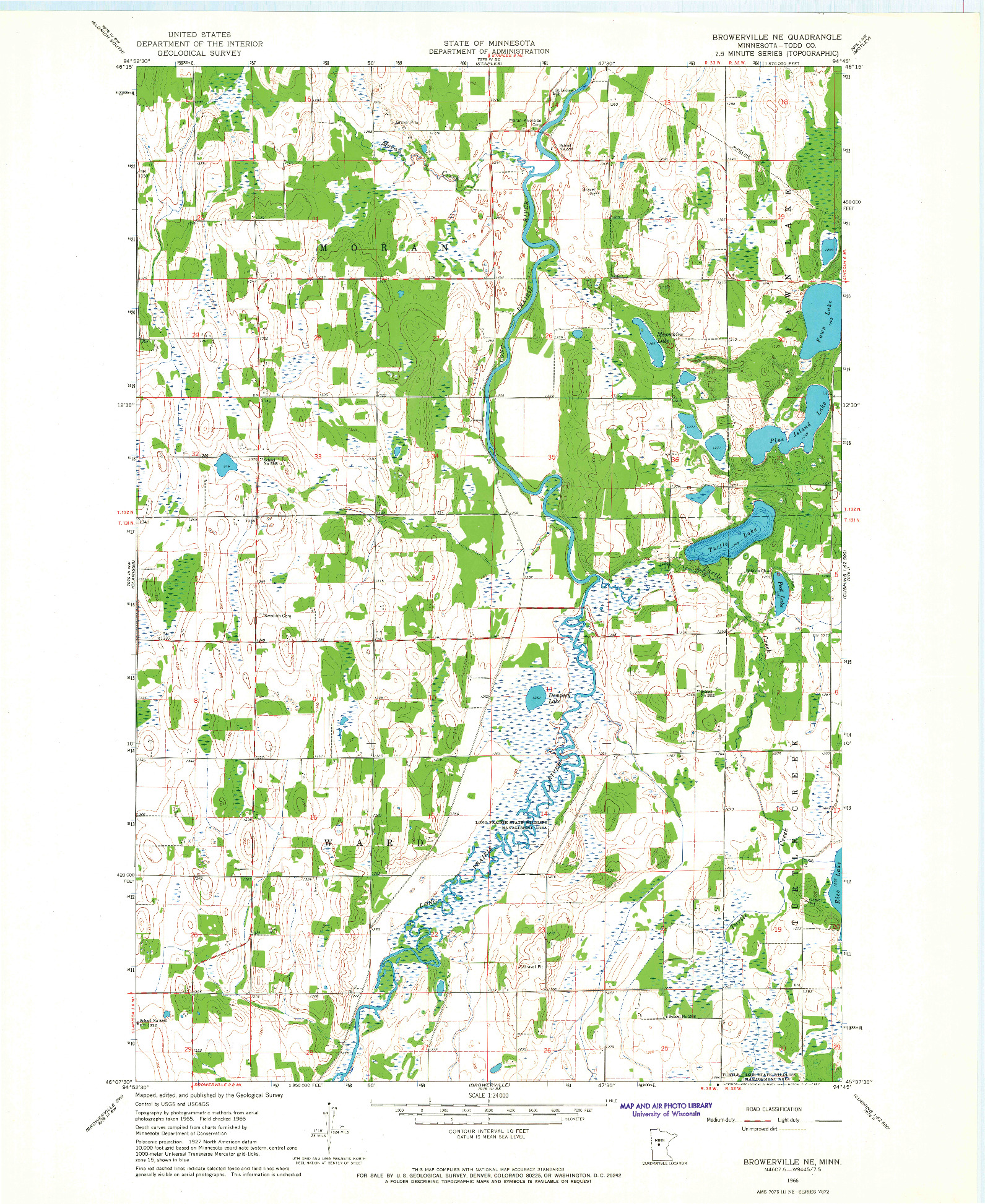 USGS 1:24000-SCALE QUADRANGLE FOR BROWERVILLE NE, MN 1966