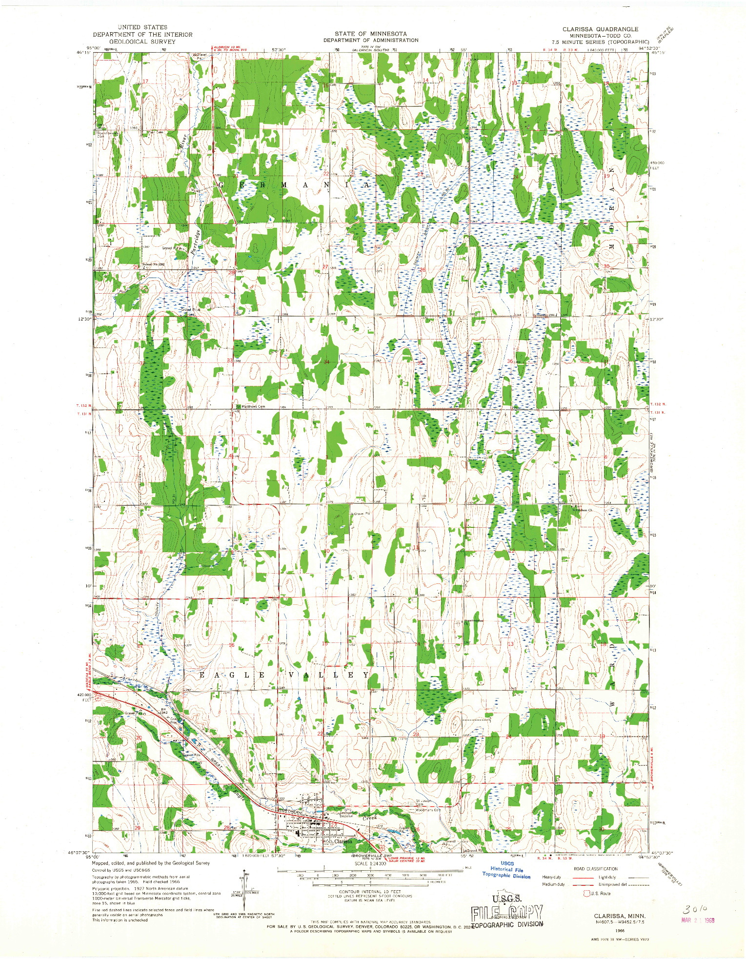 USGS 1:24000-SCALE QUADRANGLE FOR CLARISSA, MN 1966