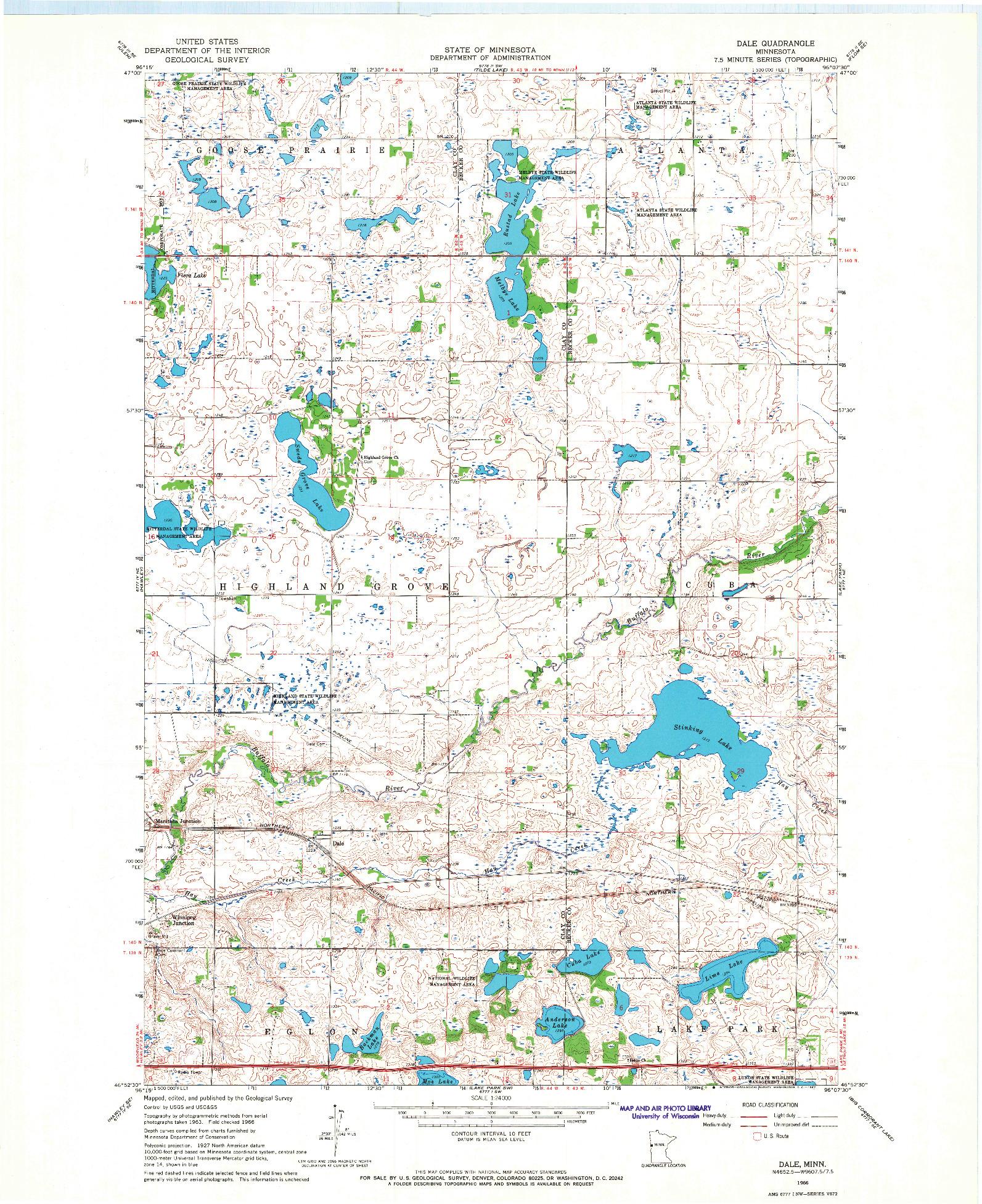 USGS 1:24000-SCALE QUADRANGLE FOR DALE, MN 1966