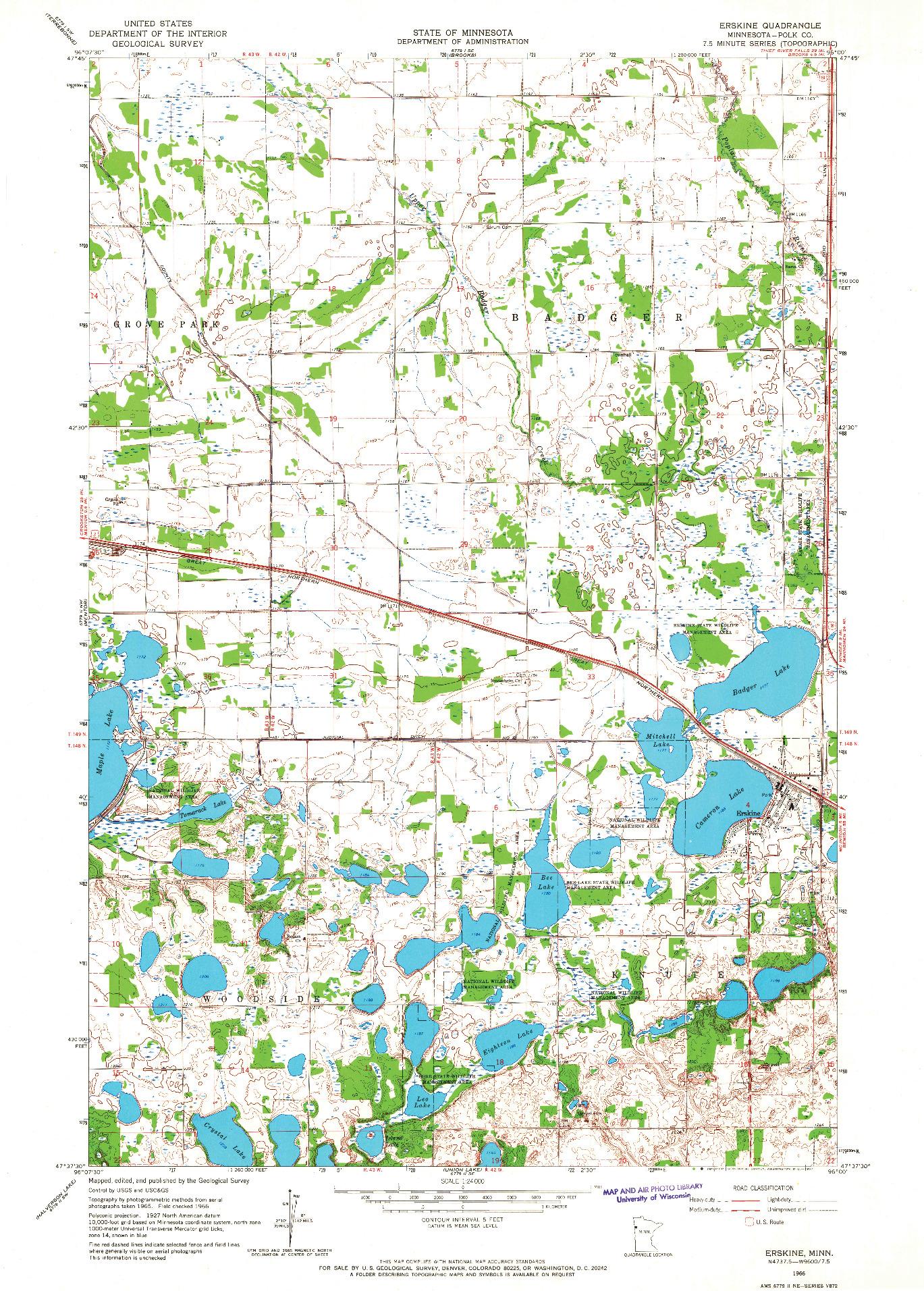 USGS 1:24000-SCALE QUADRANGLE FOR ERSKINE, MN 1966