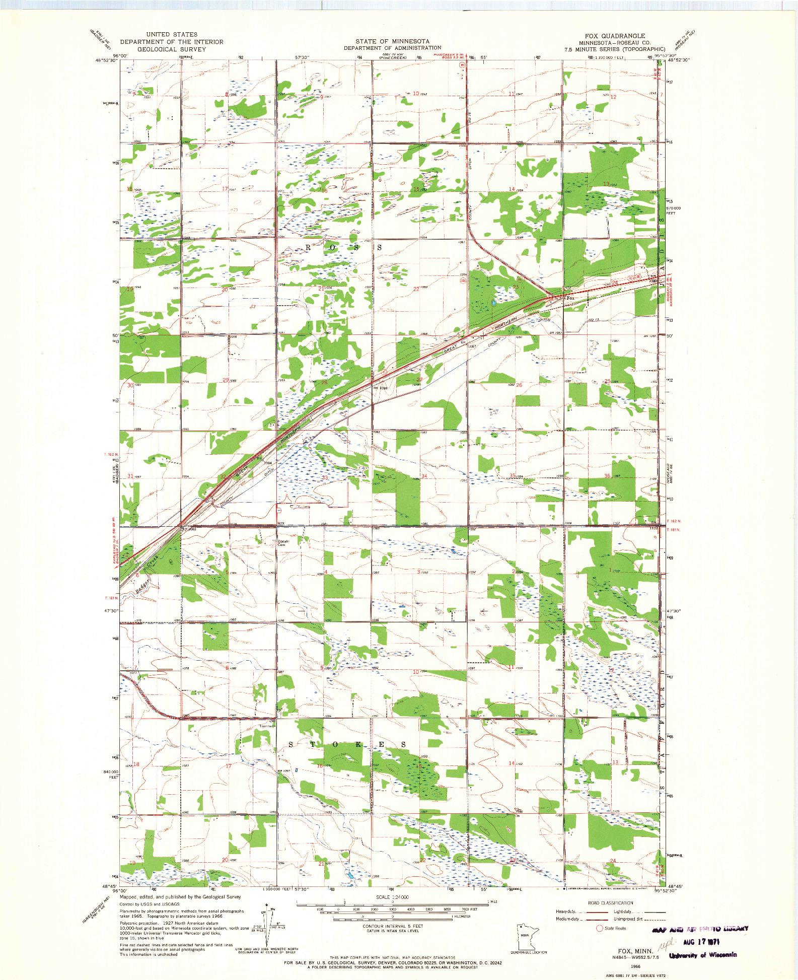 USGS 1:24000-SCALE QUADRANGLE FOR FOX, MN 1966