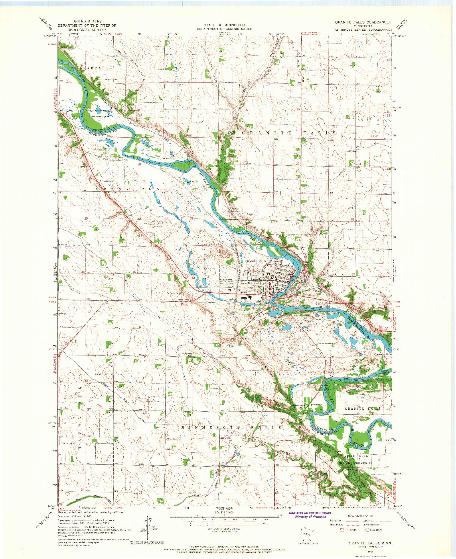 USGS 1:24000-SCALE QUADRANGLE FOR GRANITE FALLS, MN 1965