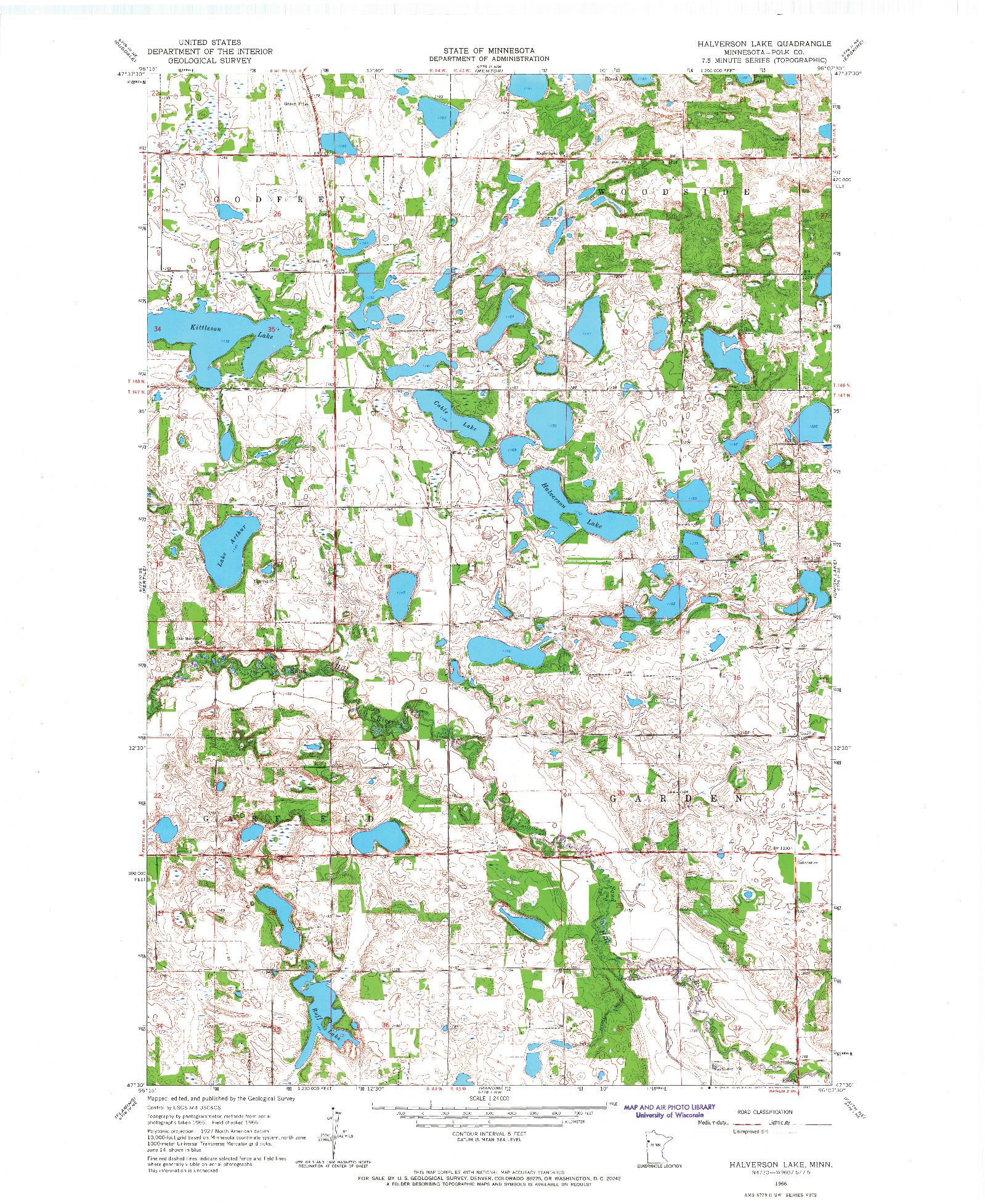 USGS 1:24000-SCALE QUADRANGLE FOR HALVERSON LAKE, MN 1966