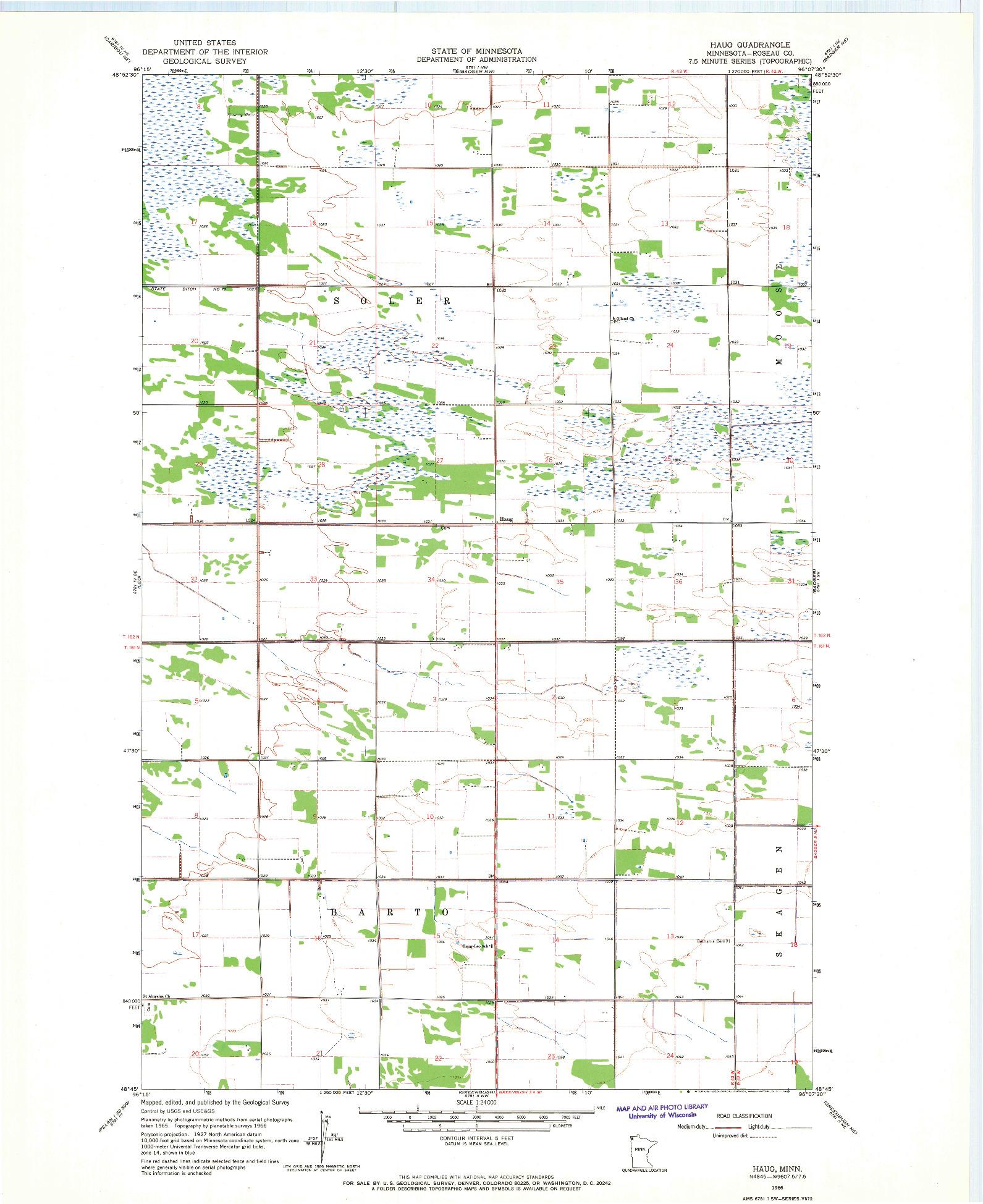 USGS 1:24000-SCALE QUADRANGLE FOR HAUG, MN 1966