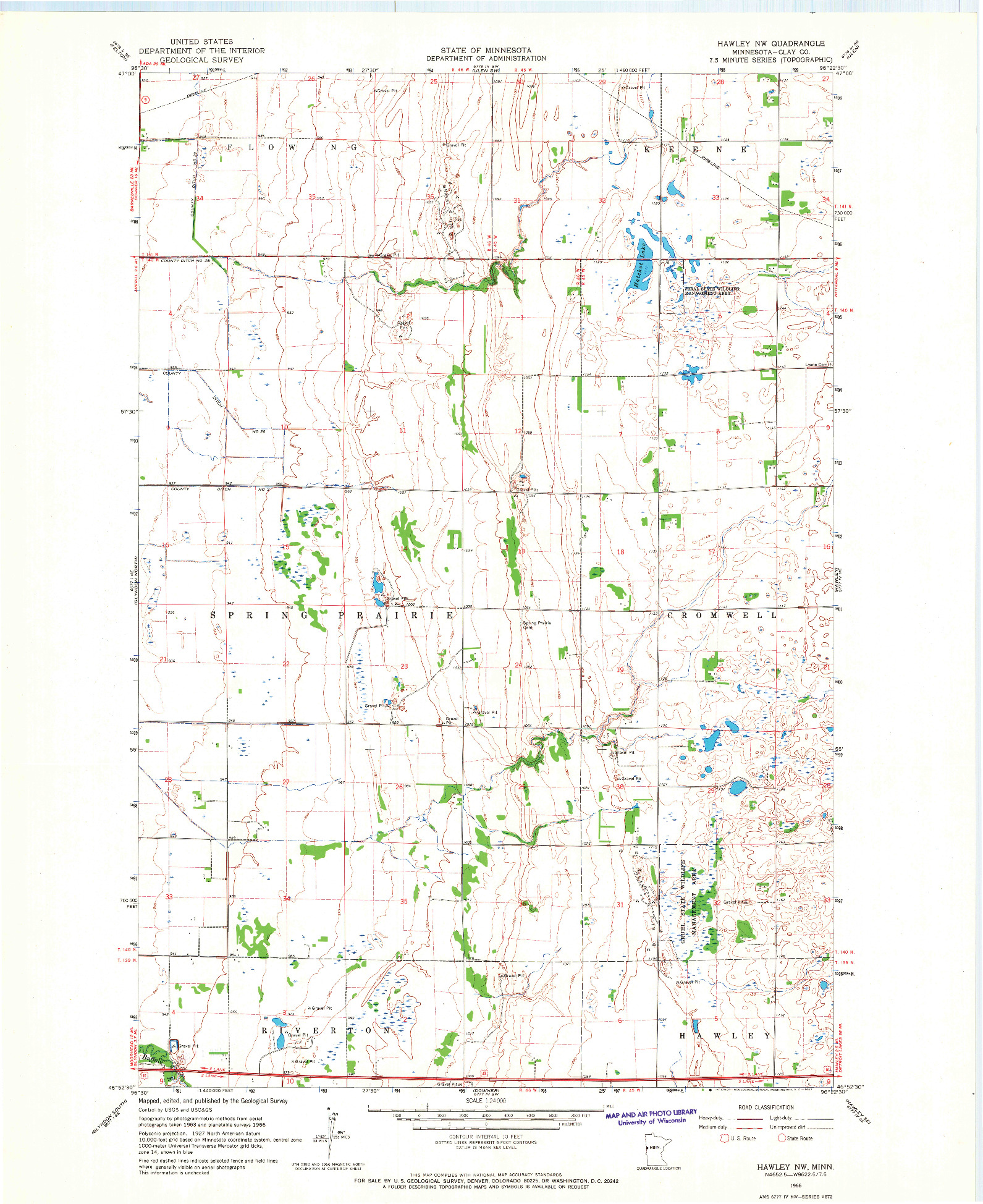 USGS 1:24000-SCALE QUADRANGLE FOR HAWLEY NW, MN 1966