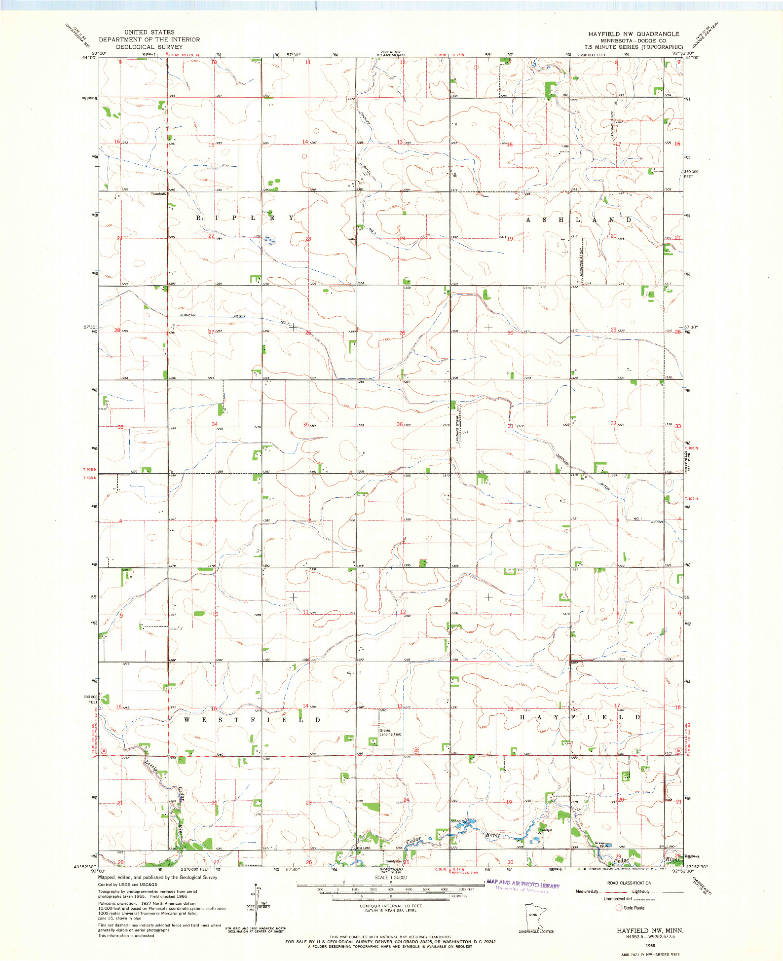 USGS 1:24000-SCALE QUADRANGLE FOR HAYFIELD NW, MN 1966
