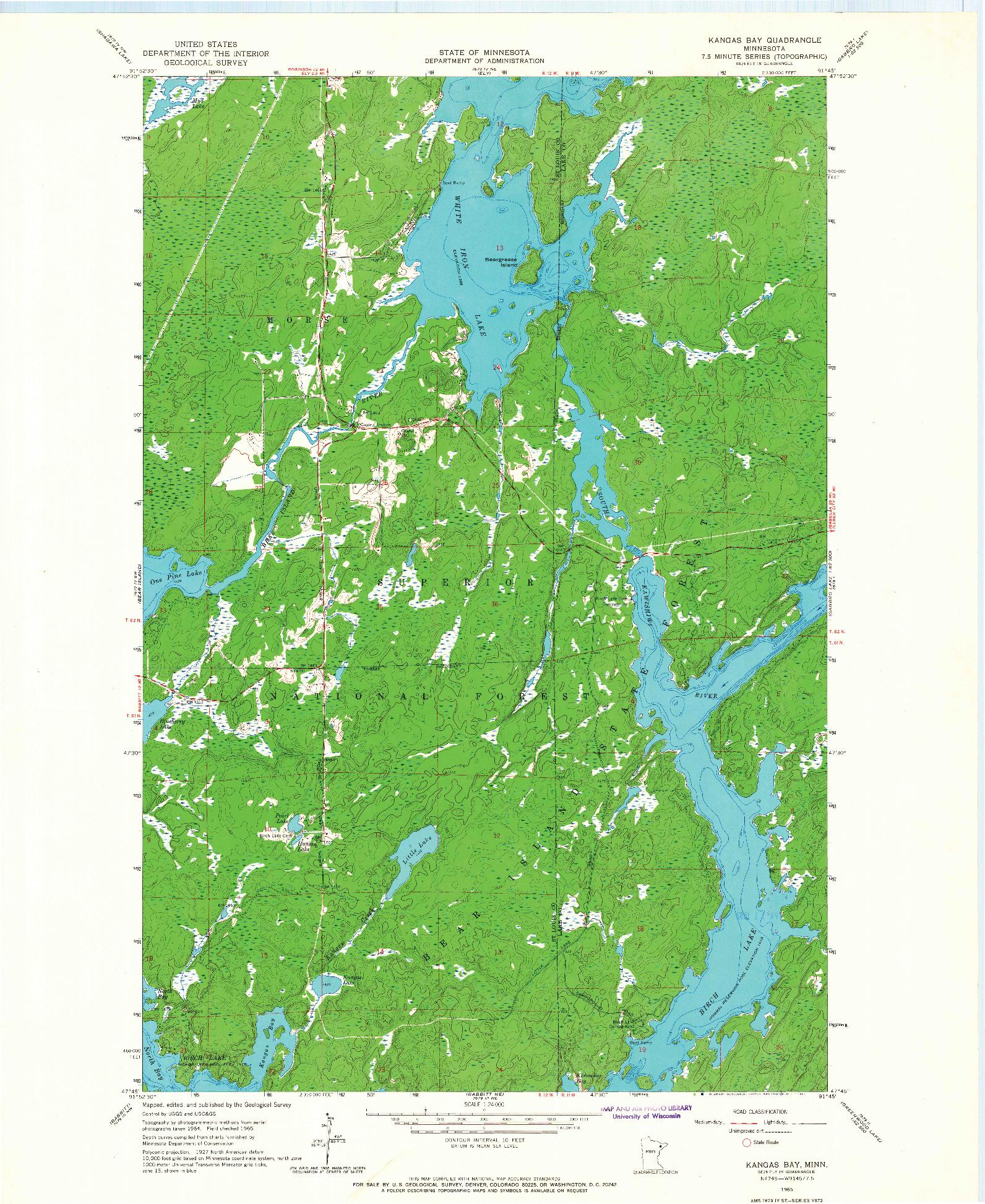 USGS 1:24000-SCALE QUADRANGLE FOR KANGAS BAY, MN 1965