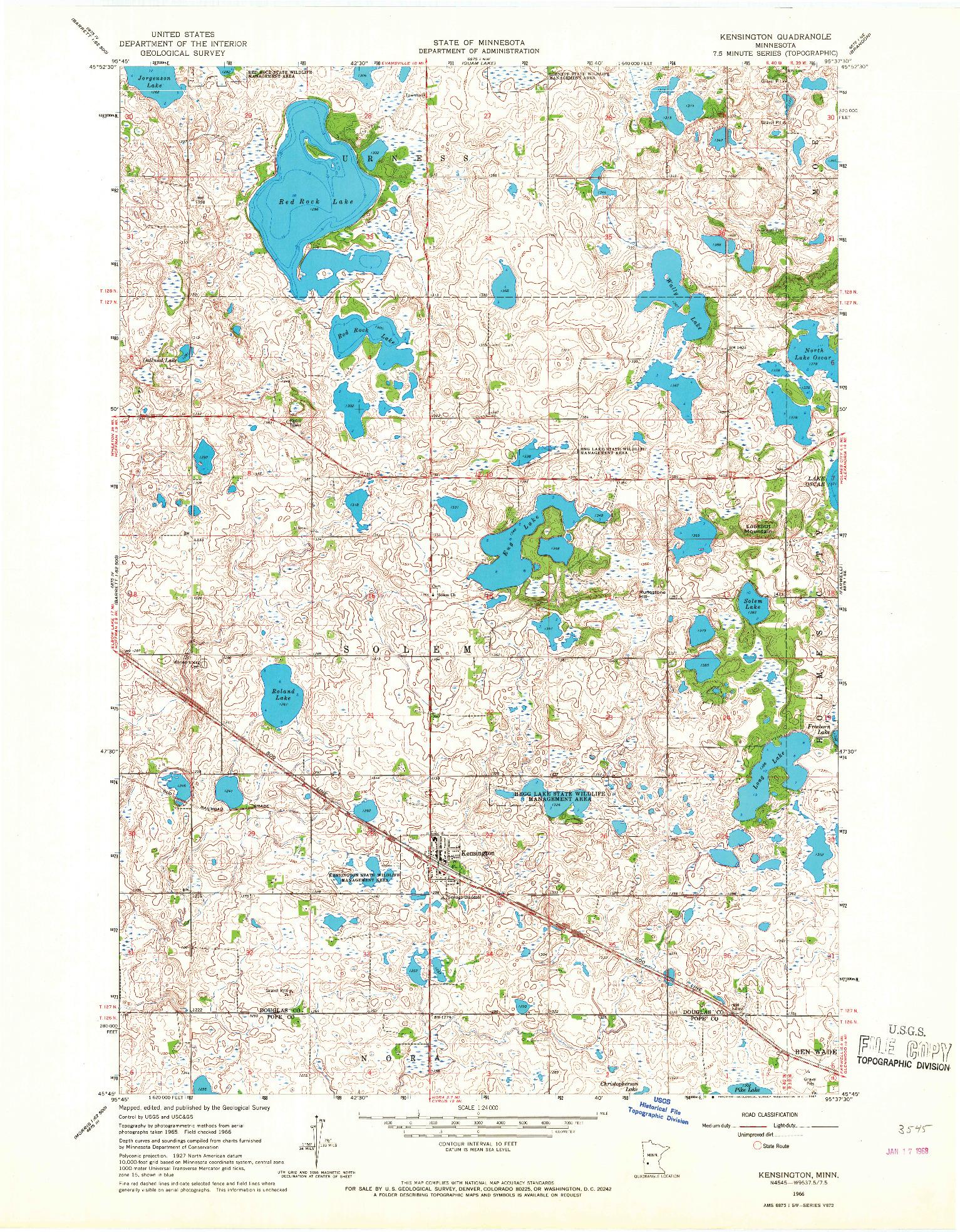 USGS 1:24000-SCALE QUADRANGLE FOR KENSINGTON, MN 1966