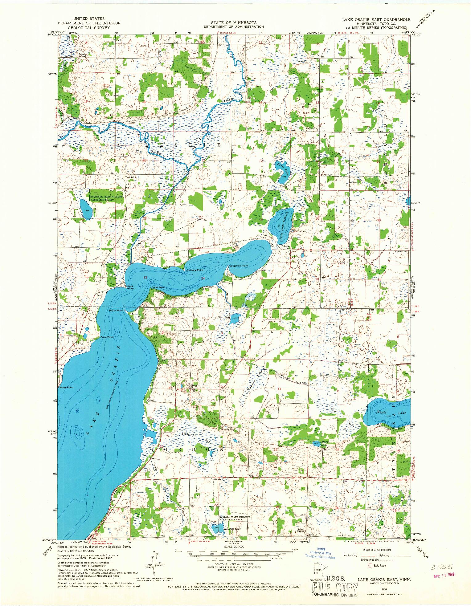 USGS 1:24000-SCALE QUADRANGLE FOR LAKE OSAKIS EAST, MN 1966
