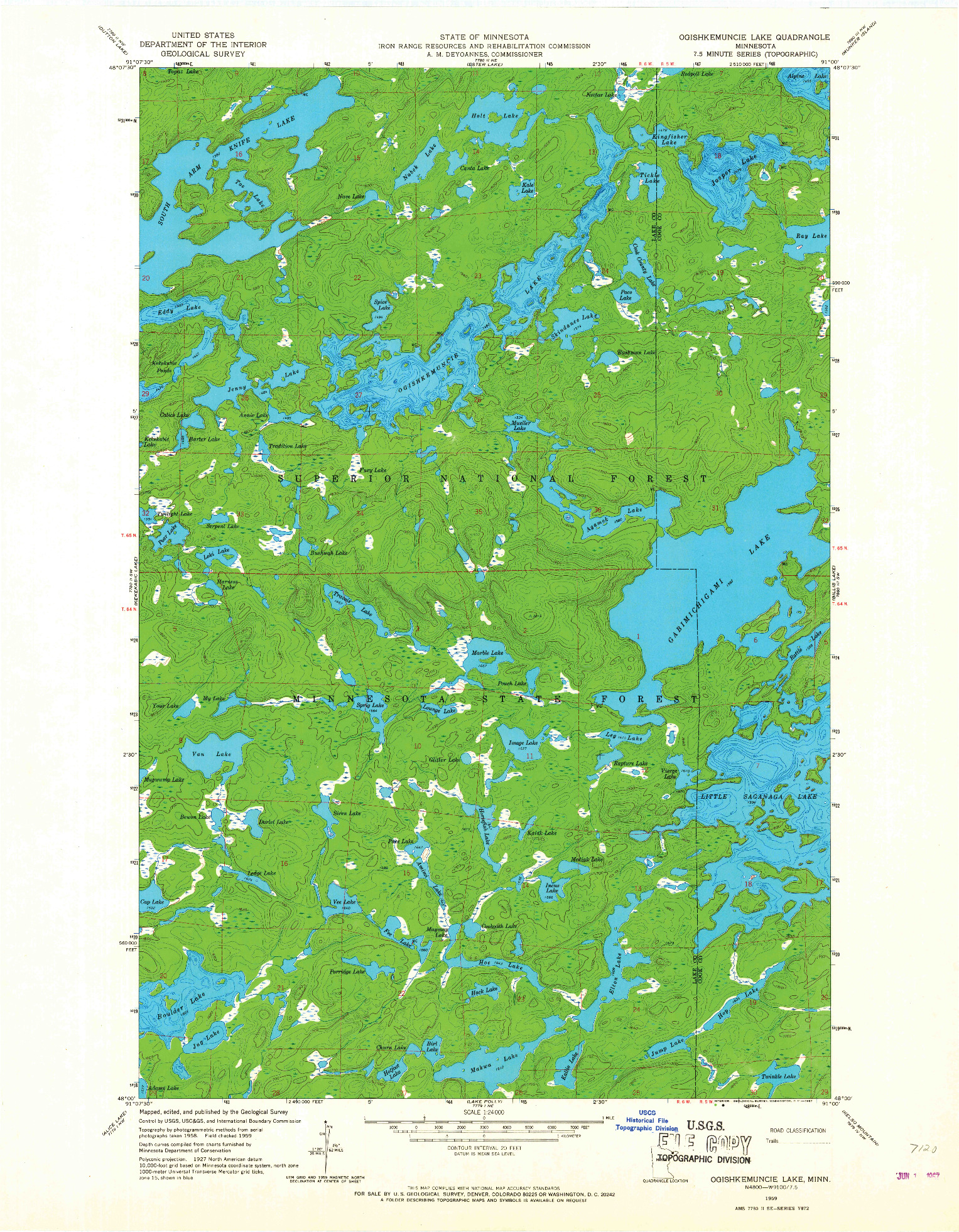 USGS 1:24000-SCALE QUADRANGLE FOR OGISHKEMUNCIE LAKE, MN 1959