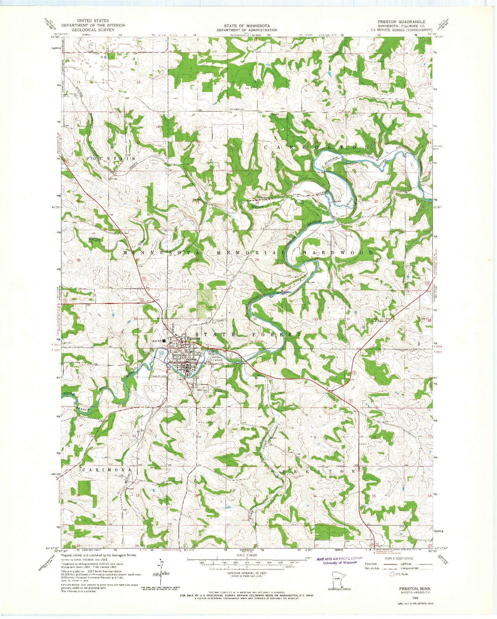 USGS 1:24000-SCALE QUADRANGLE FOR PRESTON, MN 1965