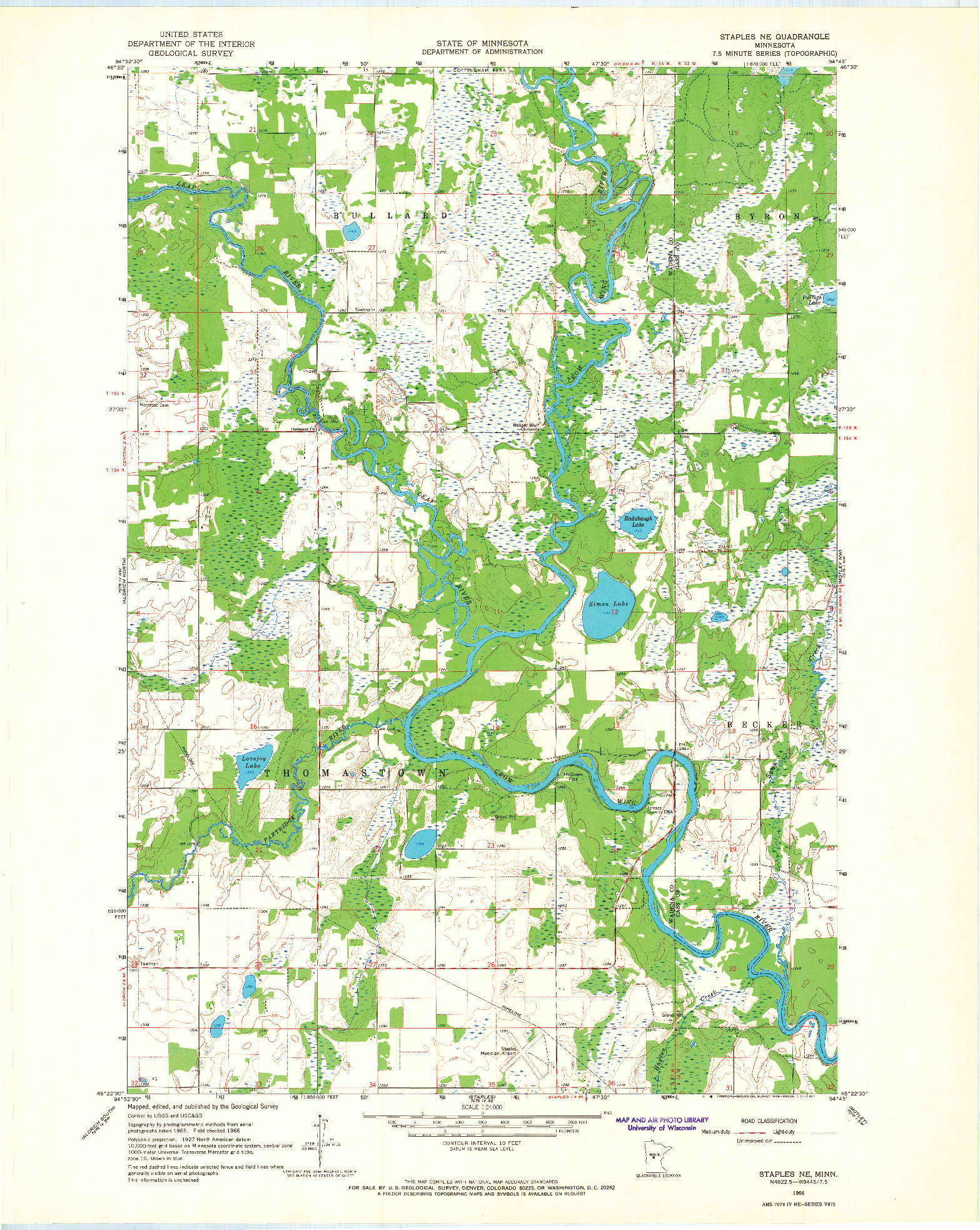 USGS 1:24000-SCALE QUADRANGLE FOR STAPLES NE, MN 1966