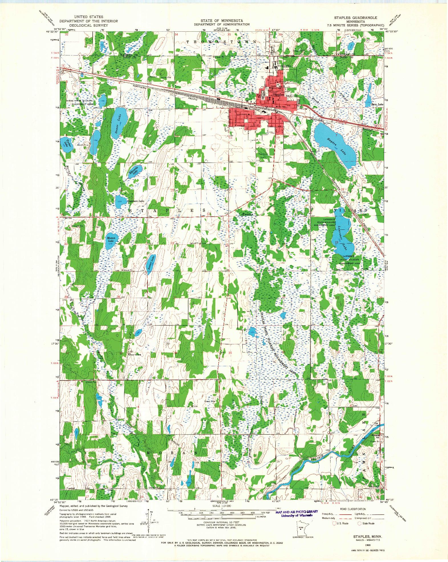 USGS 1:24000-SCALE QUADRANGLE FOR STAPLES, MN 1966