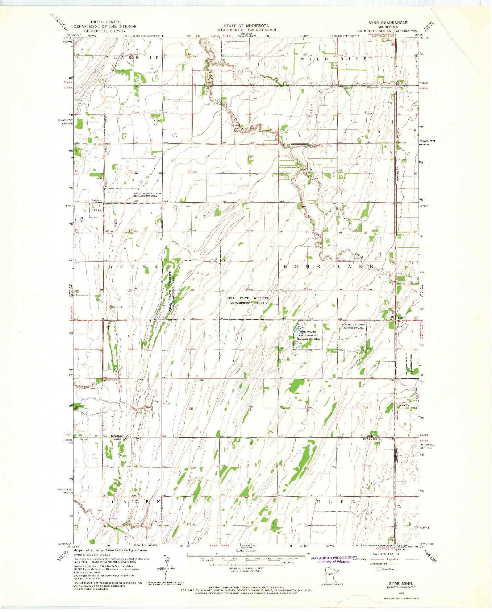 USGS 1:24000-SCALE QUADRANGLE FOR SYRE, MN 1965