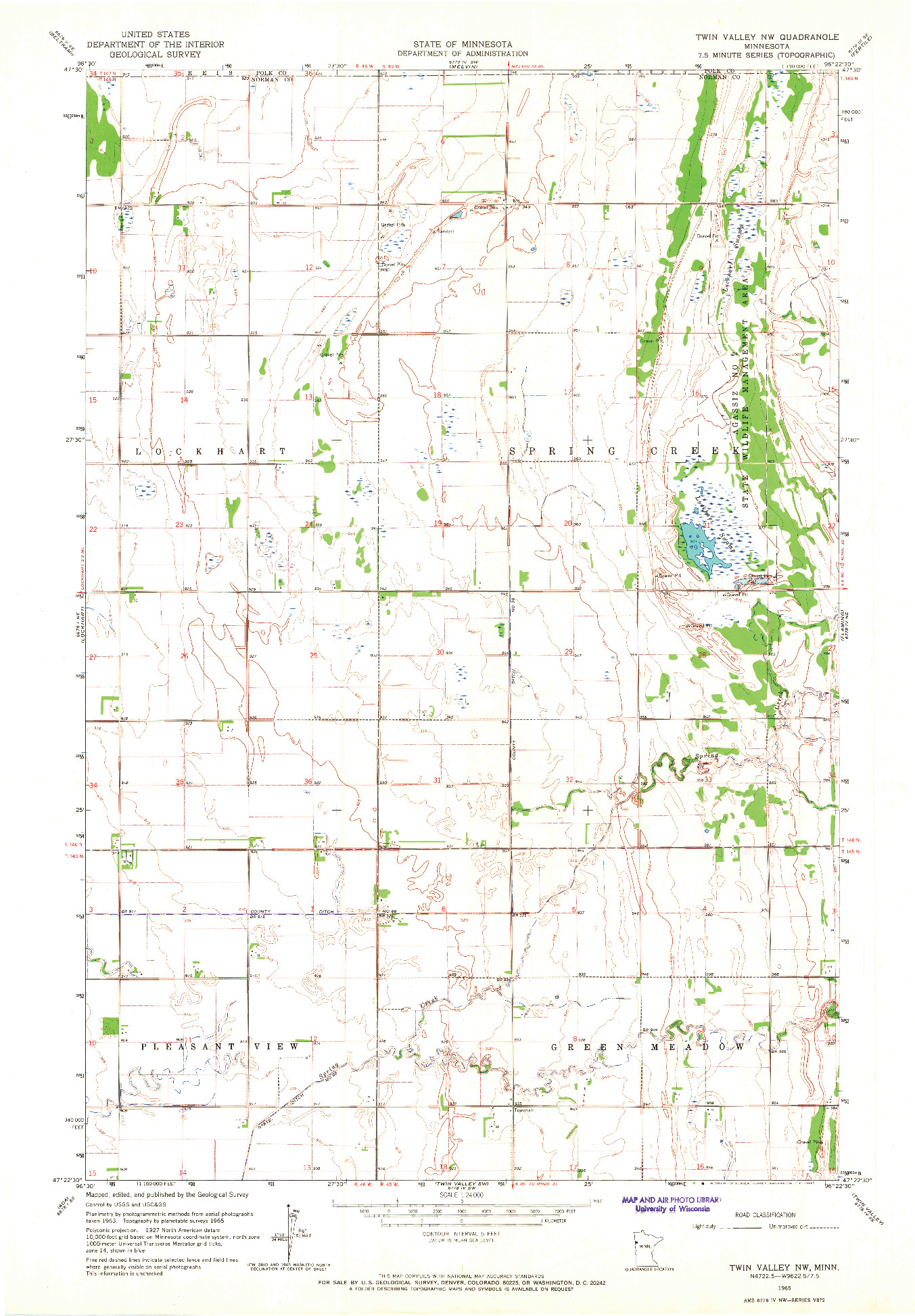 USGS 1:24000-SCALE QUADRANGLE FOR TWIN VALLEY NW, MN 1965