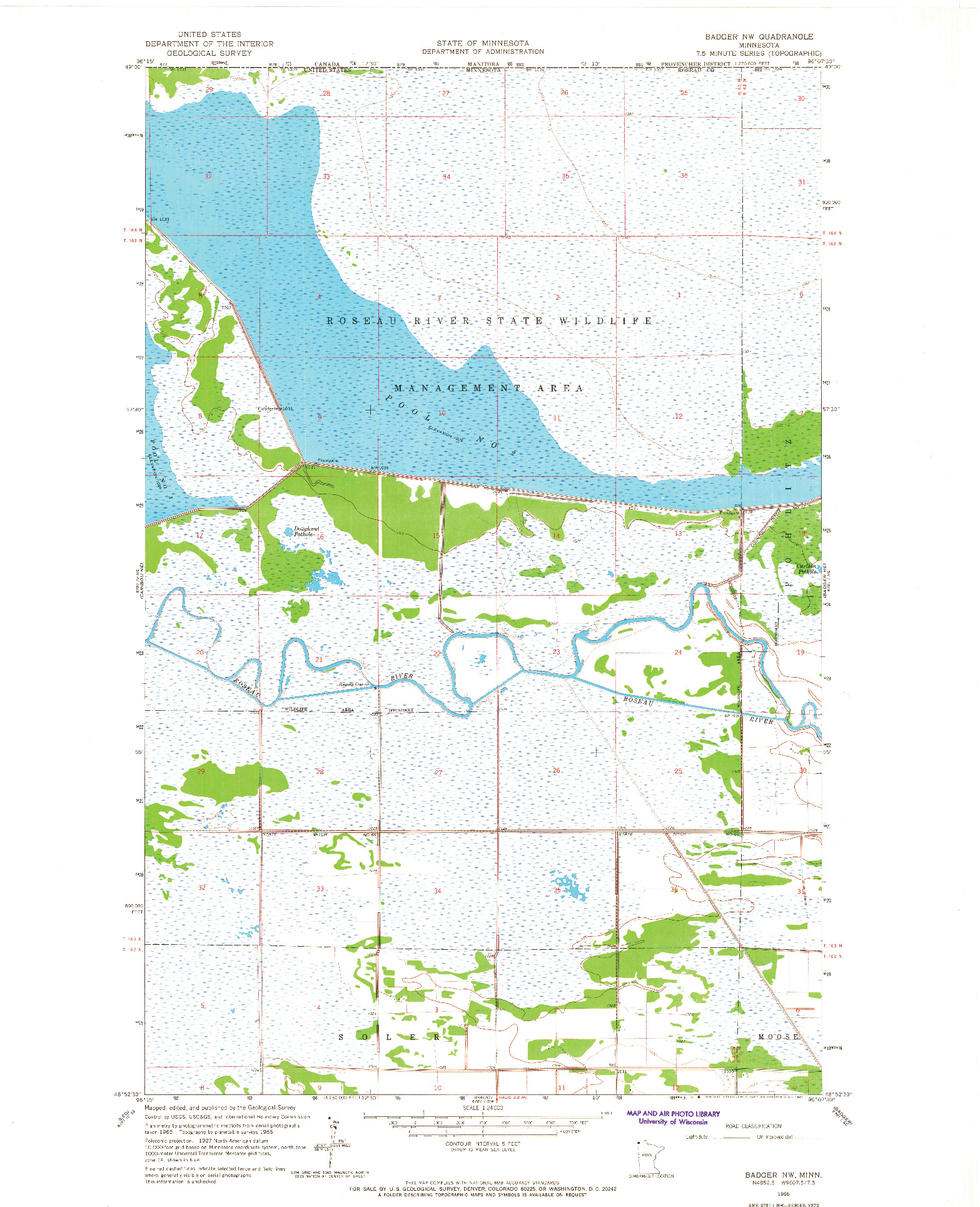 USGS 1:24000-SCALE QUADRANGLE FOR BADGER NW, MN 1966
