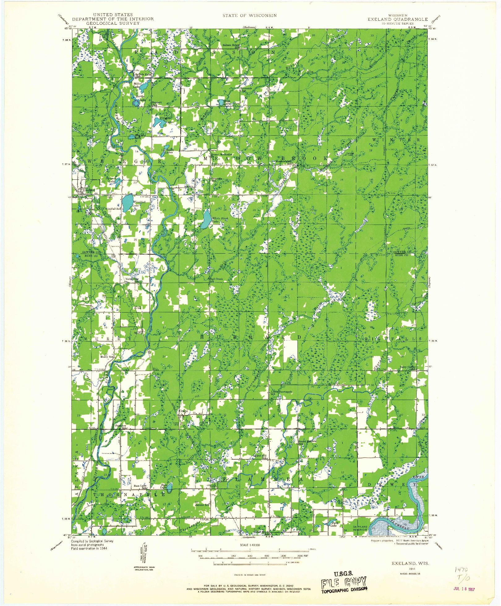 USGS 1:48000-SCALE QUADRANGLE FOR EXELAND, WI 1944